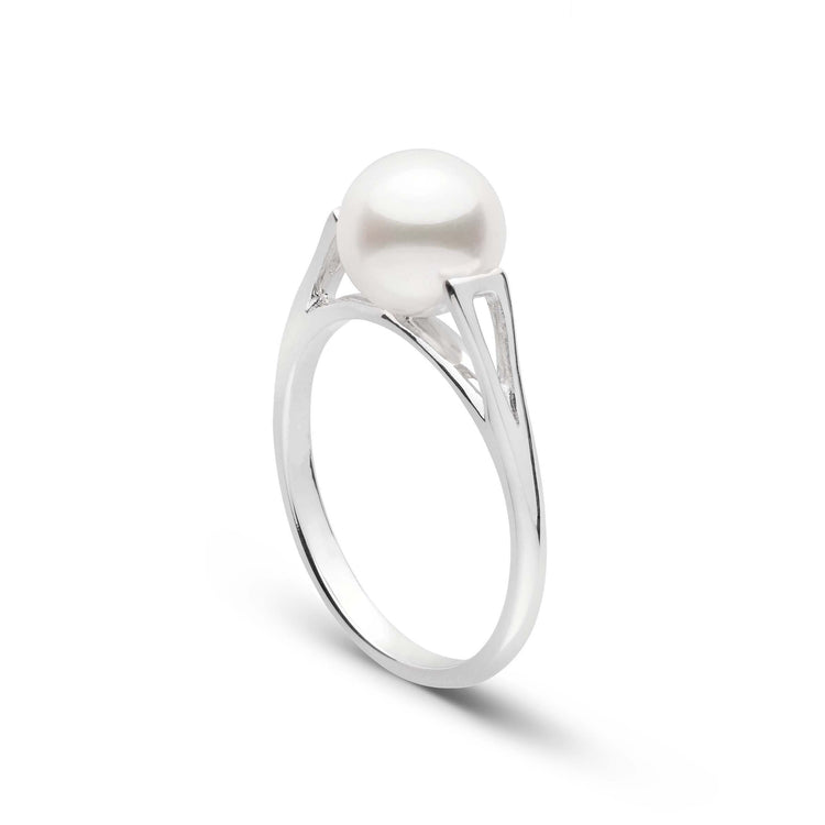 Lunette Collection Akoya Pearl Ring in Sterling Silver