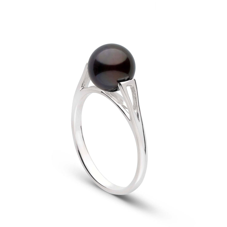 Lunette Collection Black Akoya Pearl Ring in Sterling Silver