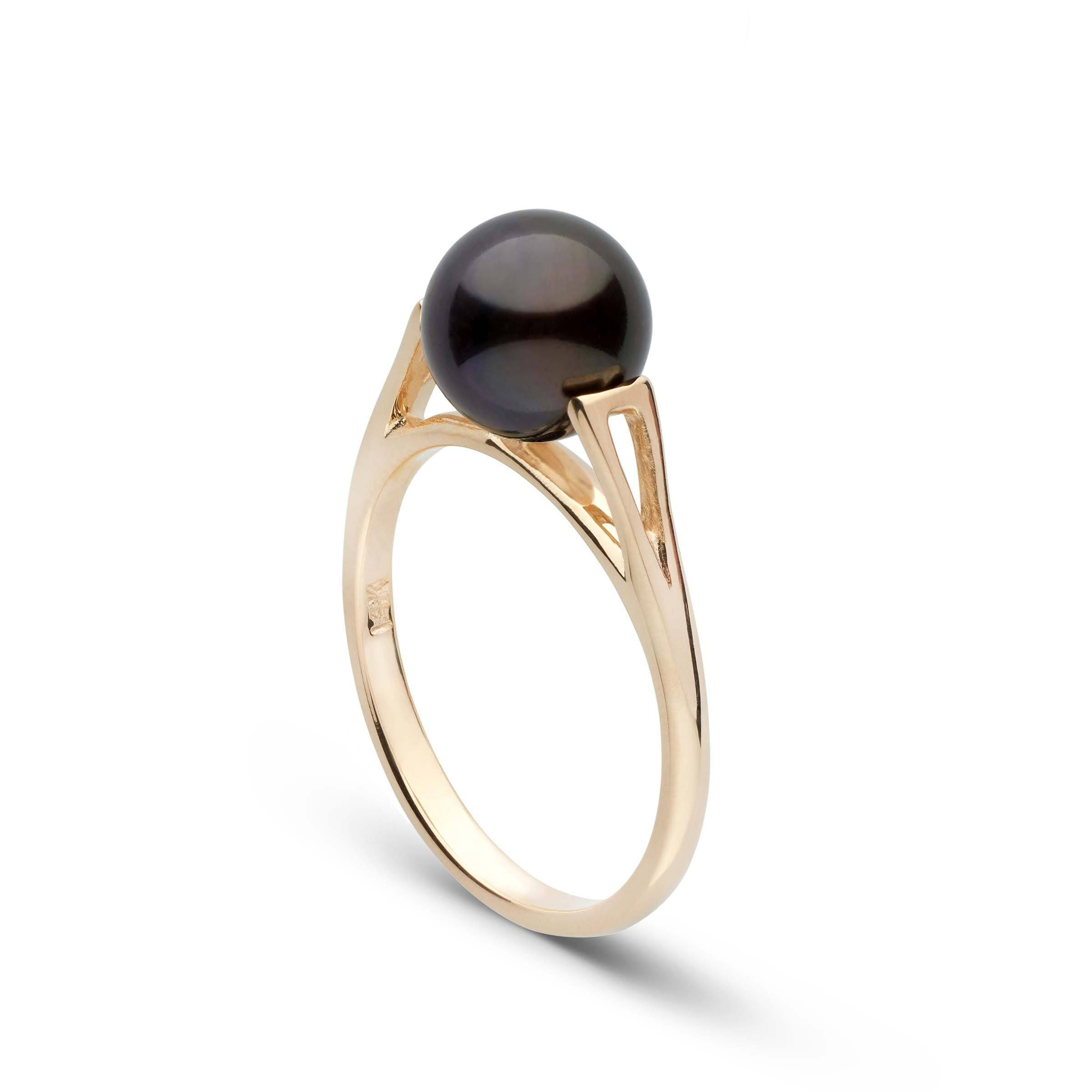 Lunette Collection Black Akoya Pearl Ring
