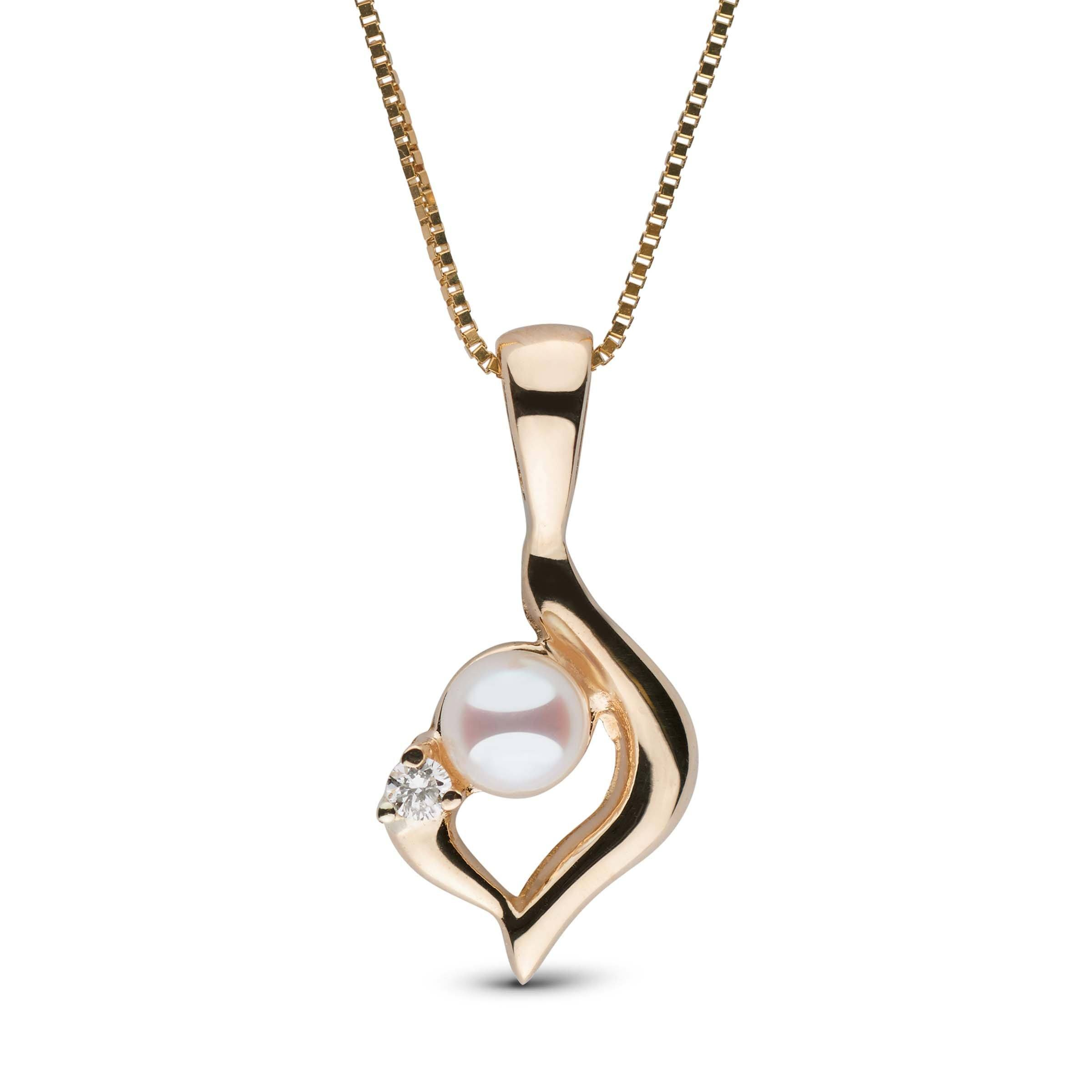 Lyra Collection Freshwater Pearl and Diamond Pendant