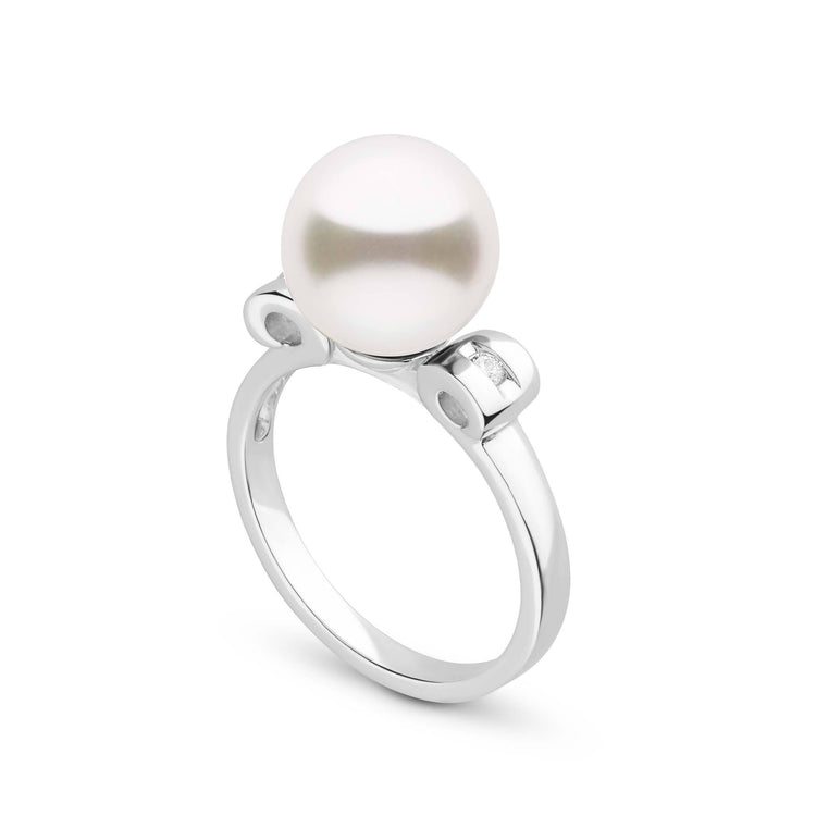 Melody Collection Freshadama Freshwater Pearl and Diamond Ring in Sterling Silver