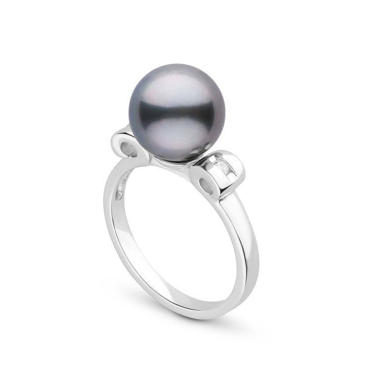 Melody Collection Tahitian Pearl and Diamond Ring in Sterling Silver