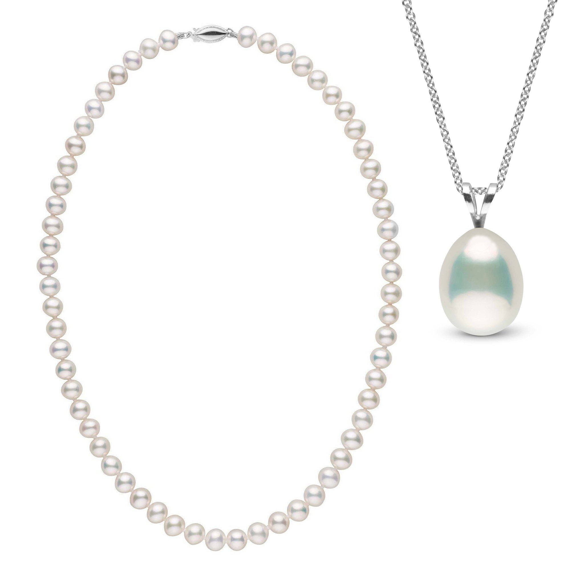 Metallic Freshwater Necklace and Pendant Set