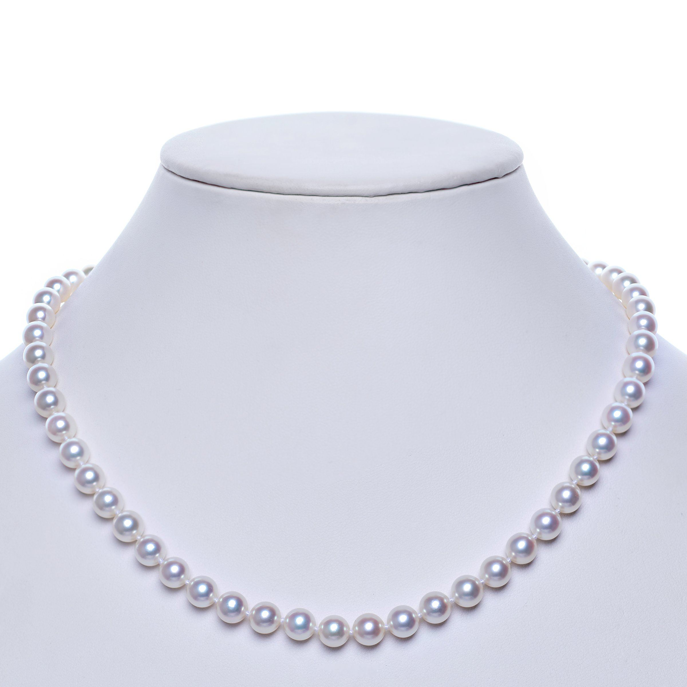 7.5-8.0 mm 16 Inch Natural White Hanadama Akoya Pearl Necklace