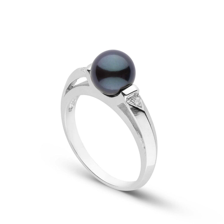 Nimue Collection Black Akoya Pearl and Diamond Ring