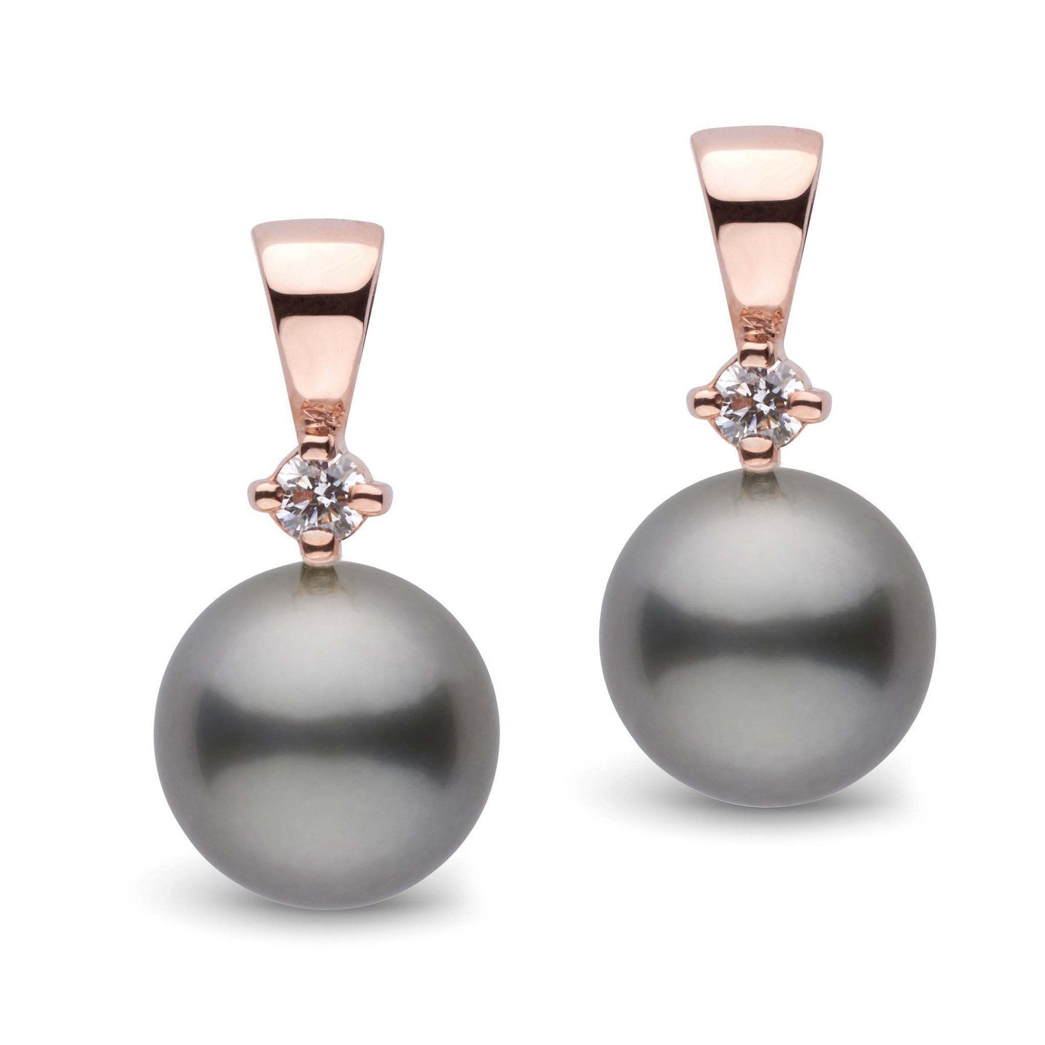 Nobility Collection Tahitian 9.0-10.0 mm Pearl and Diamond Earrings