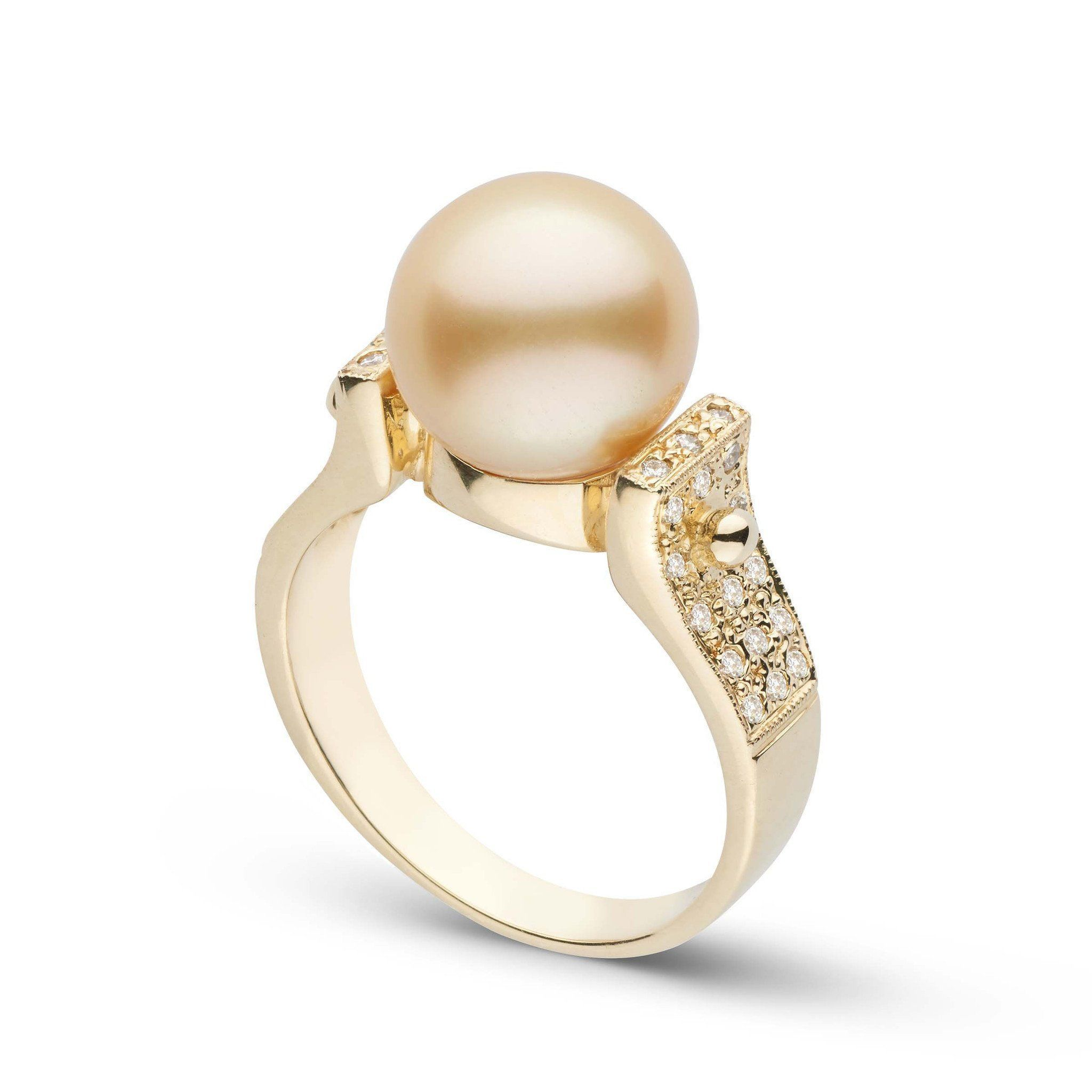Orbit Collection Golden South Sea & Diamond Ring