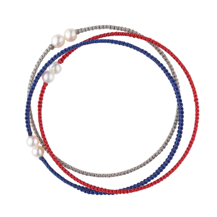 Patriotic Set of Red, Grey, and Blue Petite Freshwater Pearl Cuff Bracelets