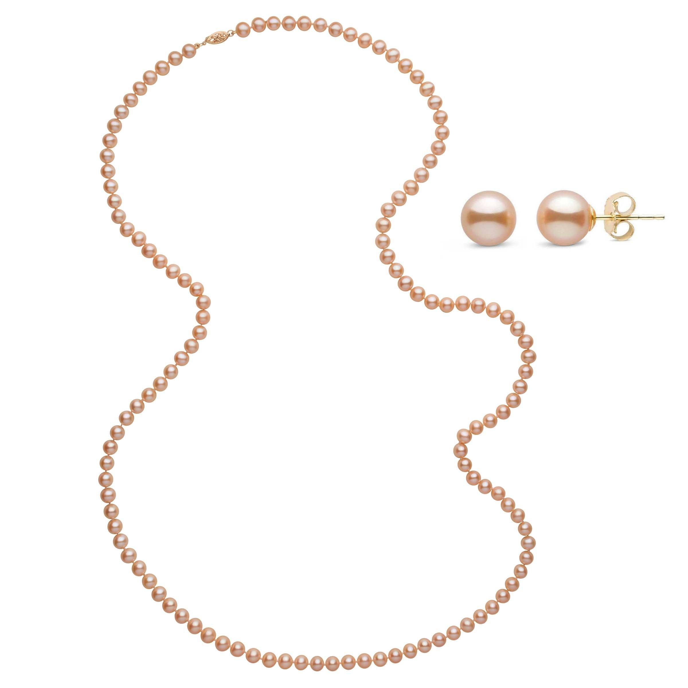 35 Inch 2 Piece Set of 6.5-7.0 mm AAA Pink to Peach Freshwater Pearls