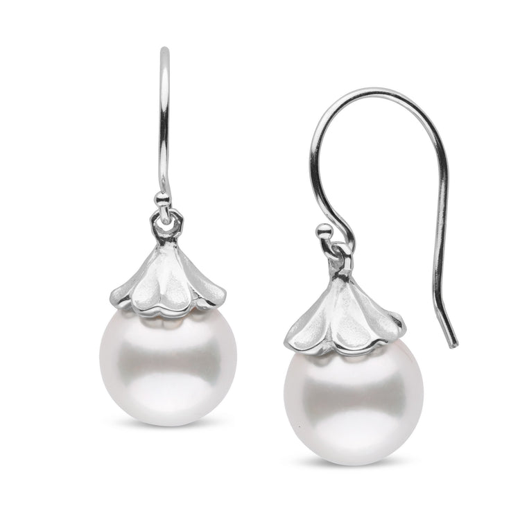 Petal Collection White South Sea 10.0-11.0 mm Pearl Earrings in Sterling Silver