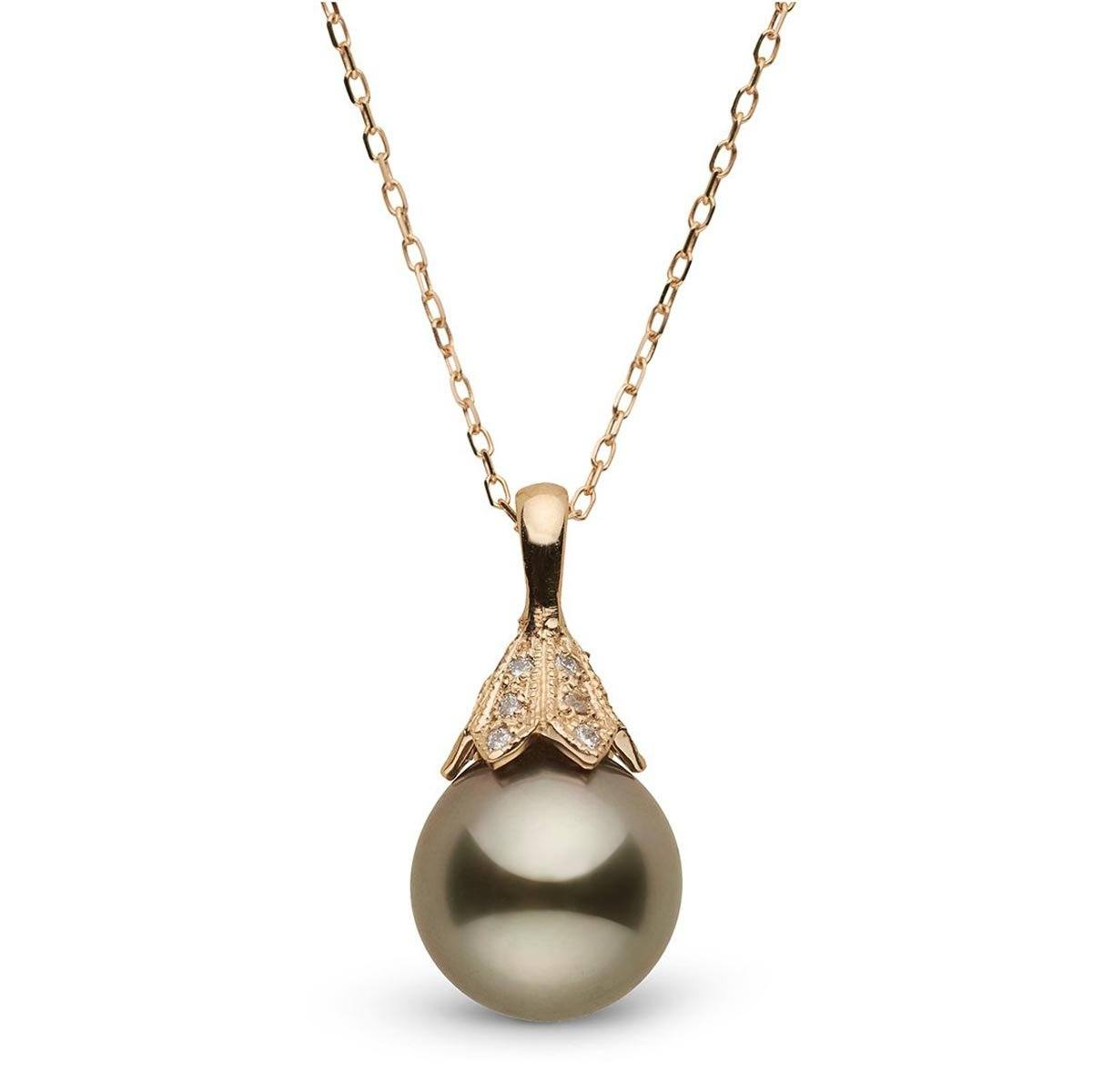 Natural Color, Chocolate-Pistachio Tahitian Pearl and Diamond Pendant