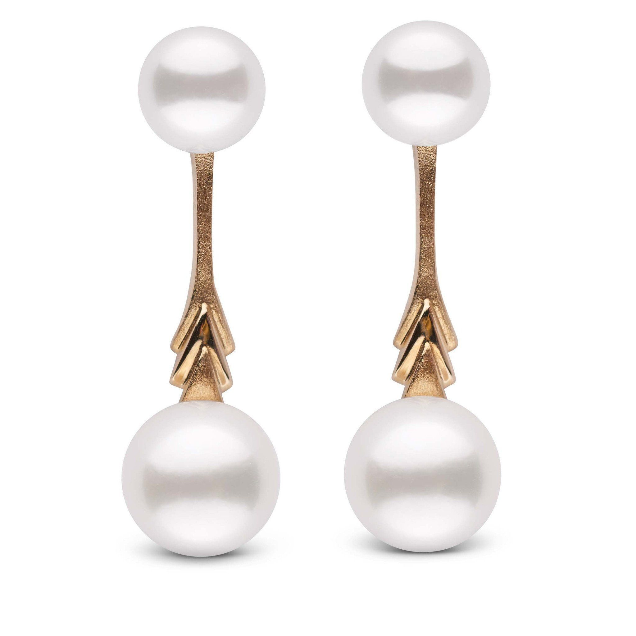 Plume Collection Akoya 8.5-9.0 mm Pearl Stud Earring and Jacket Set