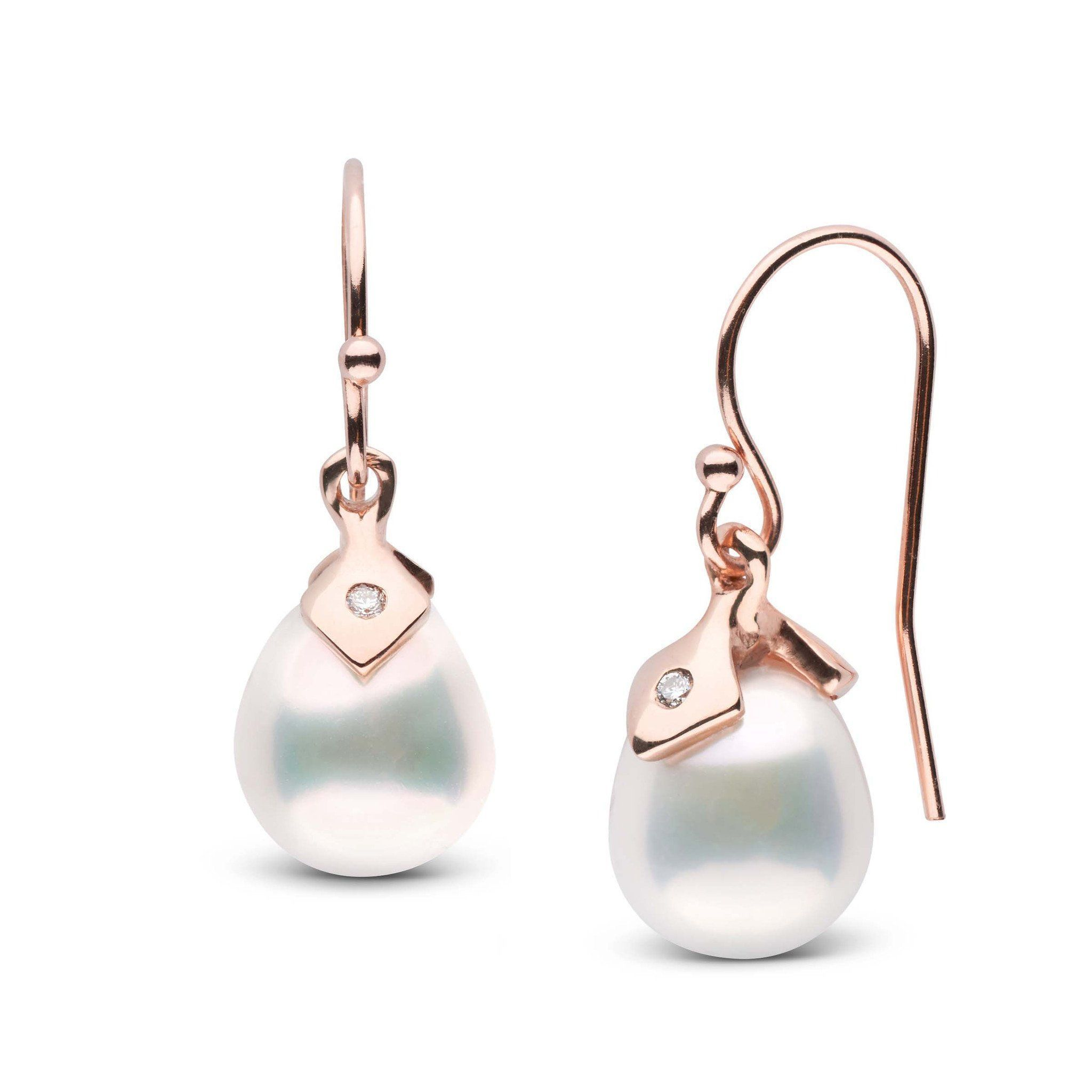 Pointe Collection Metallic White Freshwater Drop Pearl and Diamond Earrings