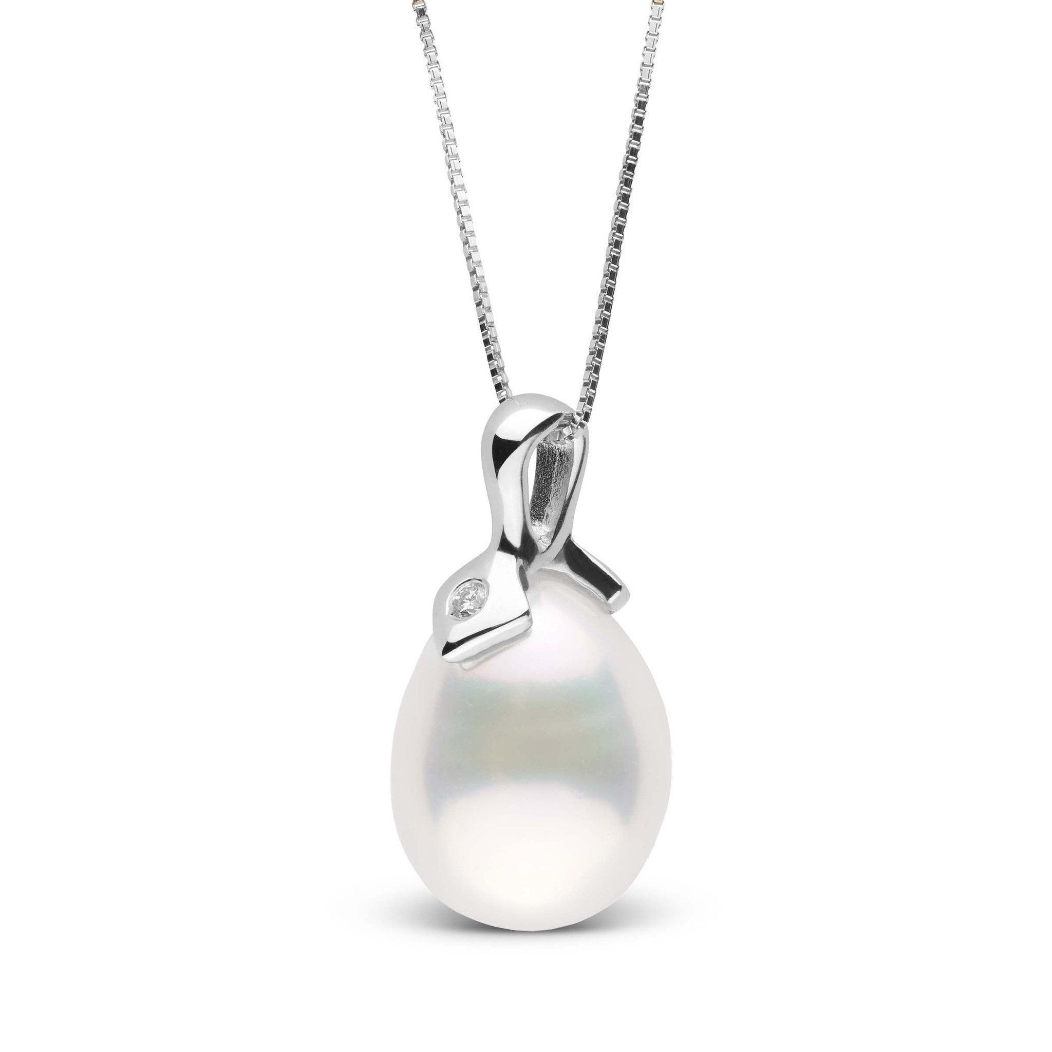 Pointe Collection White Freshwater Drop Pearl and Diamond Pendant