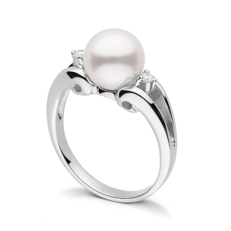 Precious Collection White Freshadama Pearl and Diamond Ring in Sterling Silver