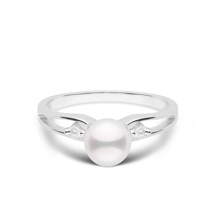 Prim Collection Akoya Pearl and Diamond Ring in Sterling Silver