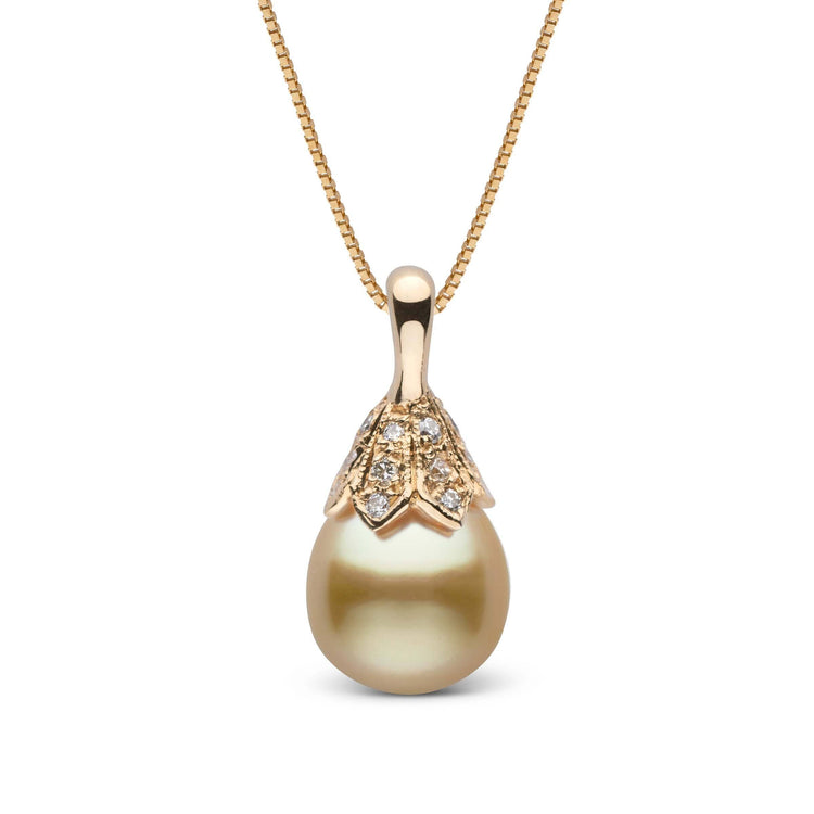 Radiance Collection Golden South Sea Drop Pearl and Diamond Pendant
