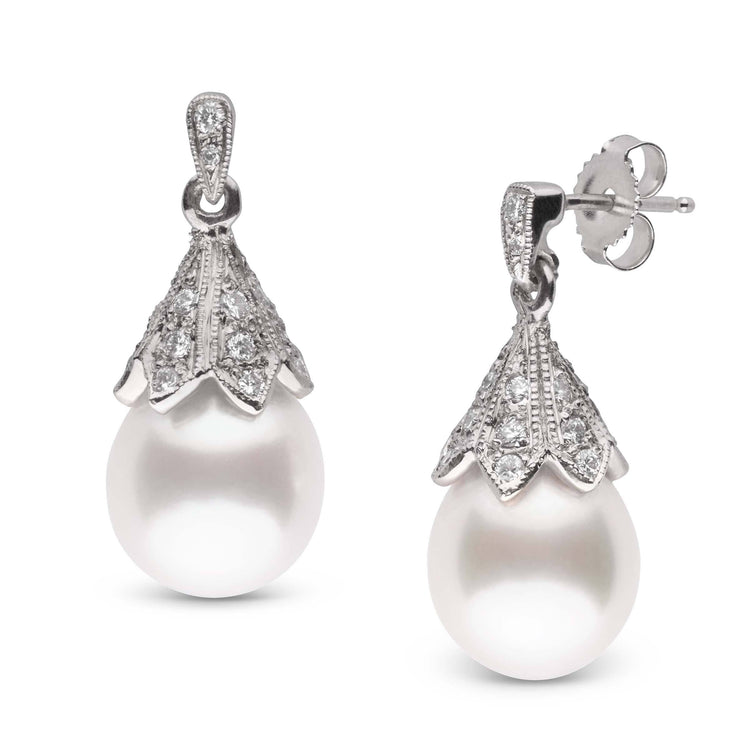 Radiance Collection White South Sea 9.0-10.0 mm Drop Pearl and Diamond Earrings