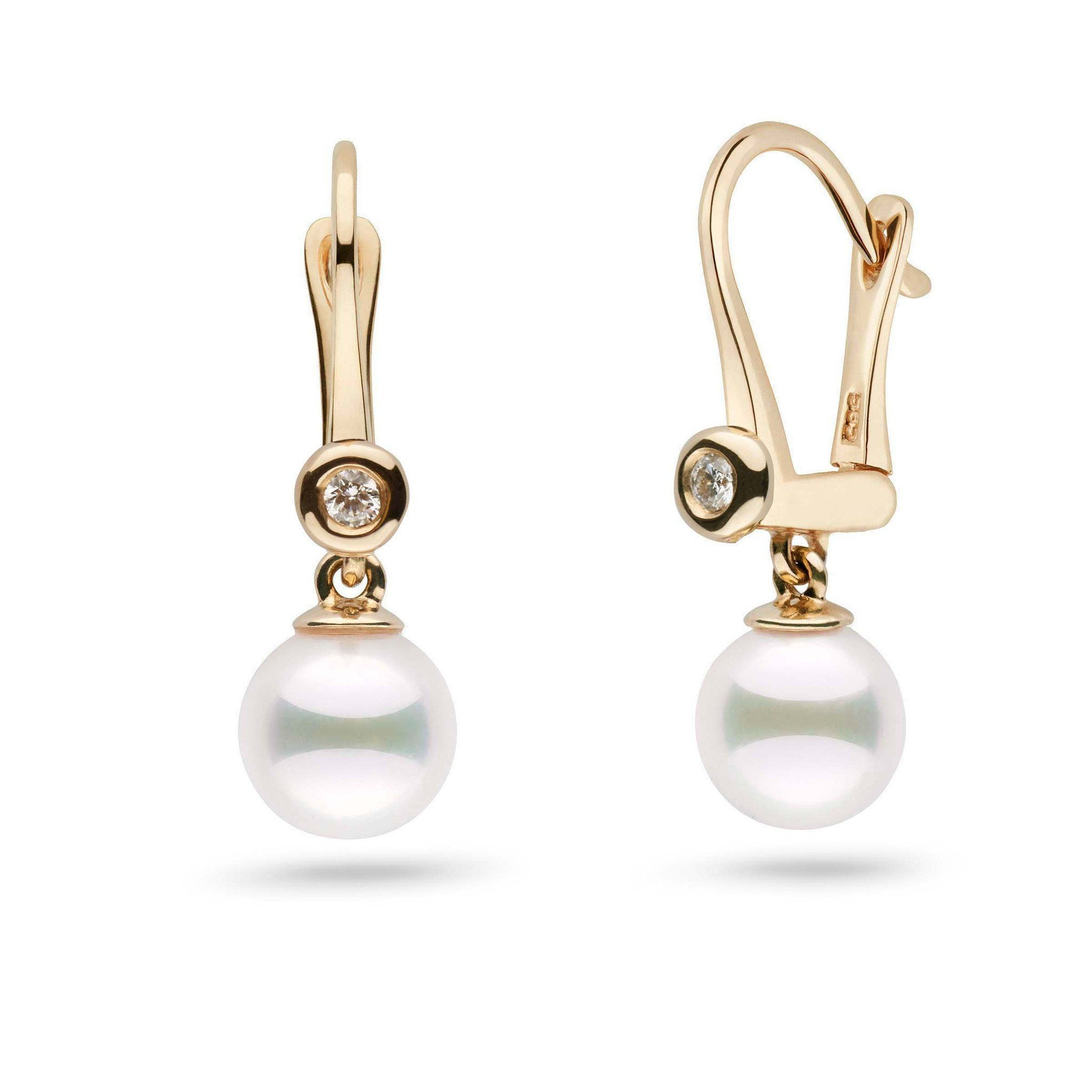 Romantic Collection Akoya 7.0-7.5 mm Pearl & Diamond Dangle Earrings