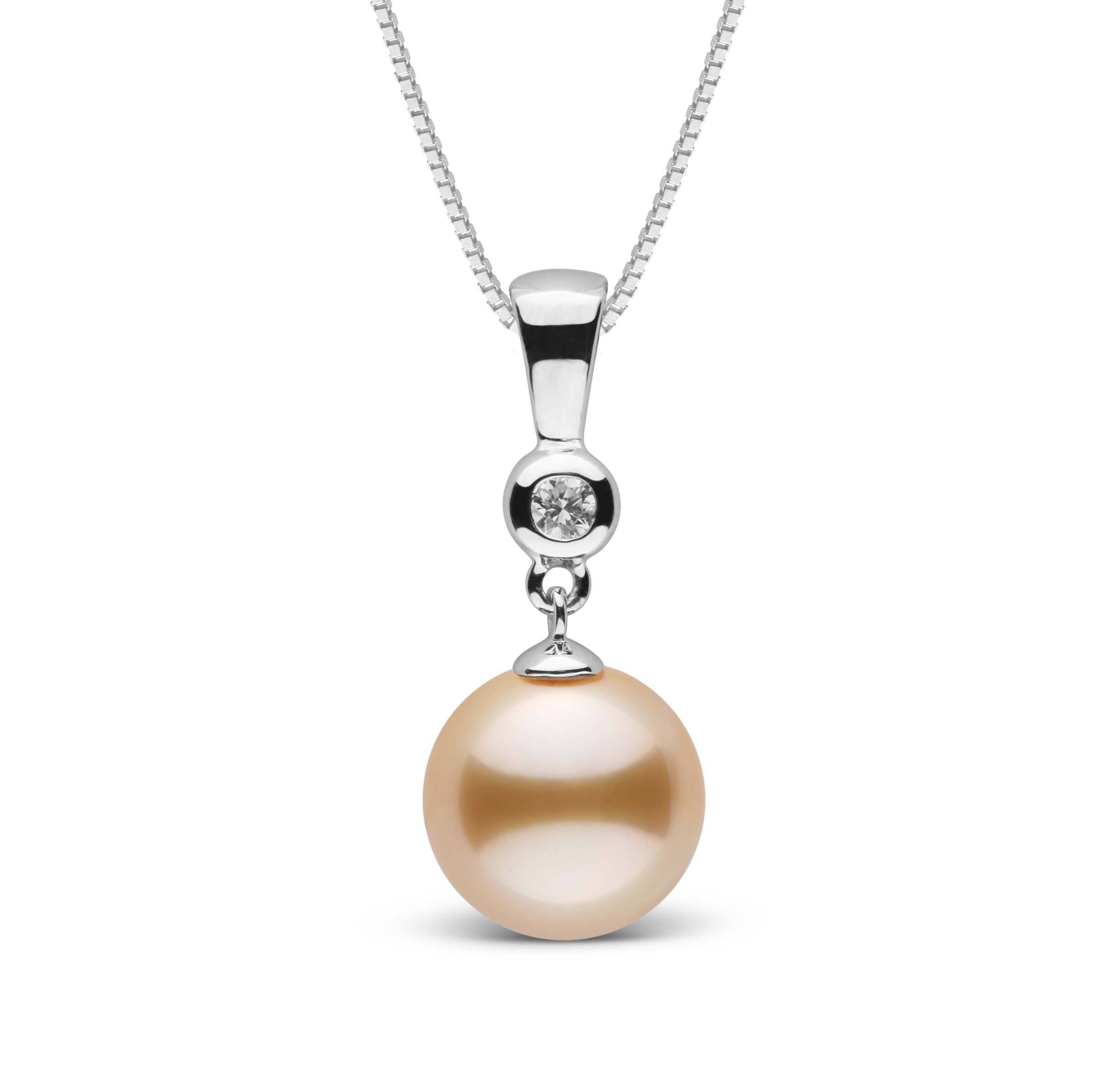 Romantic Collection Golden 9.0-10.0 mm South Sea Pearl & Diamond Pendant