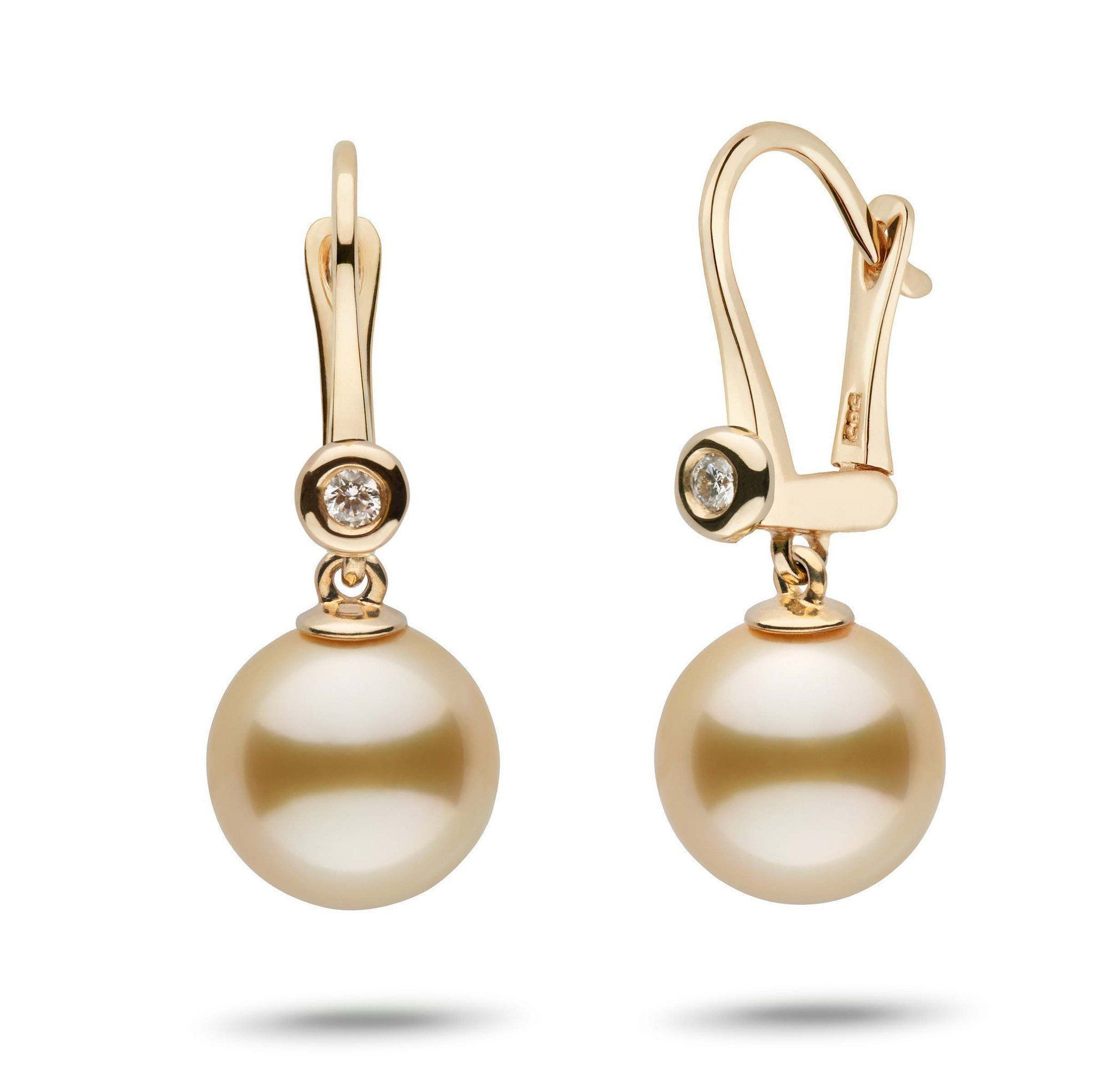 Romantic Collection Golden South Sea 10.0-11.0 mm Pearl & Diamond Dangle Earrings