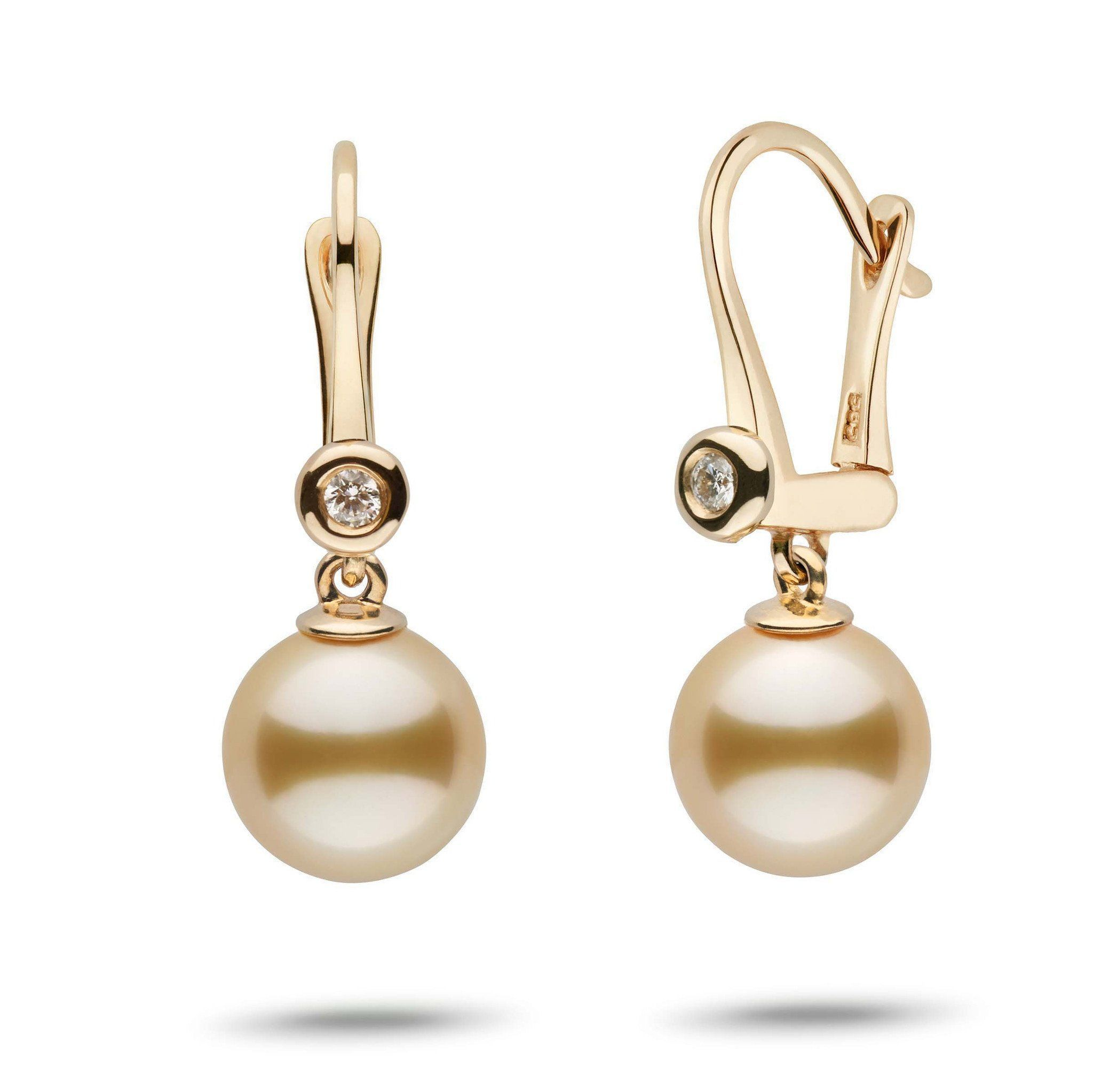 Romantic Collection Golden South Sea 9.0-10.0 mm Pearl & Diamond Dangle Earrings