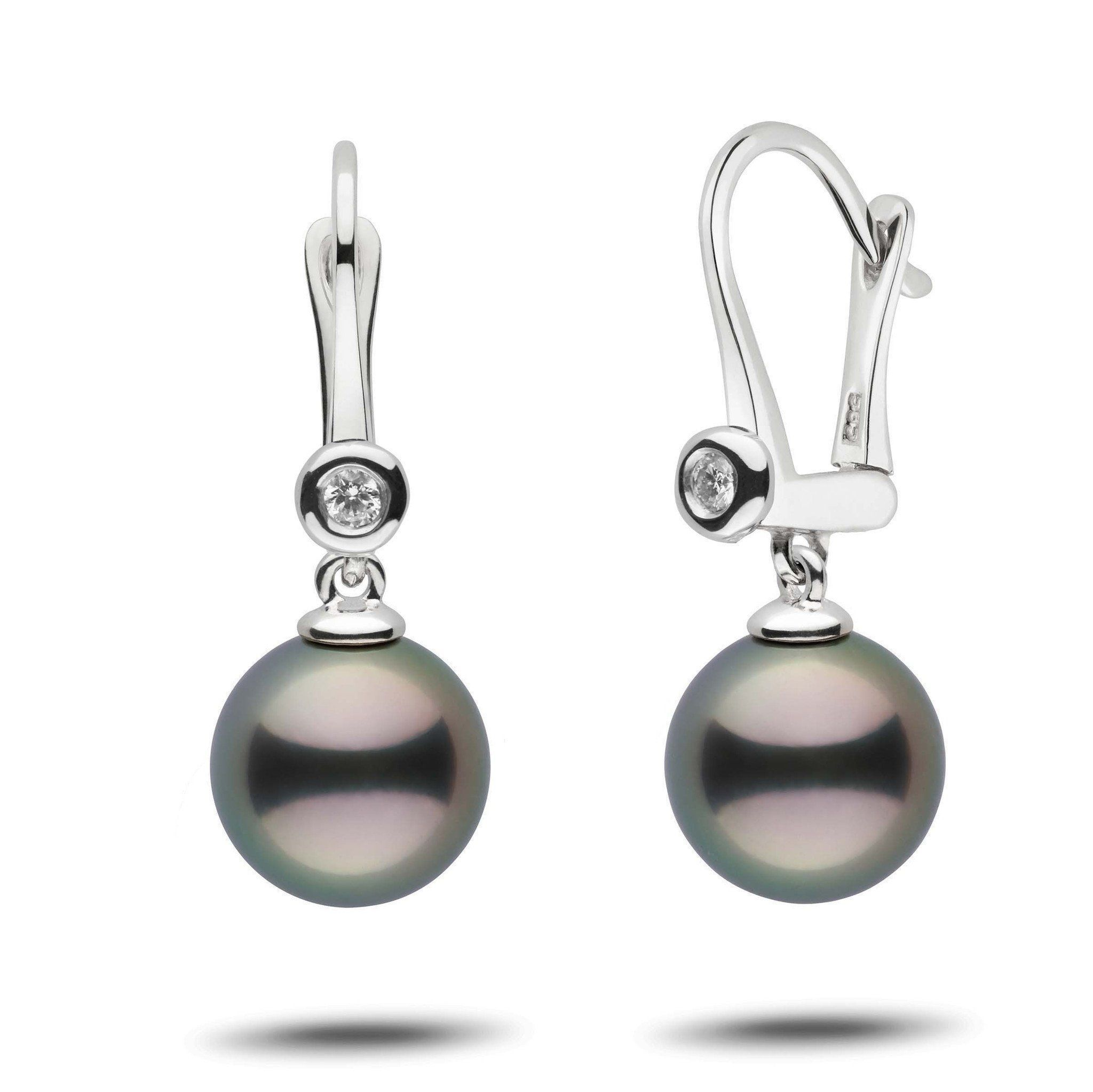 Romantic Collection Tahitian 10.0-11.0 mm Pearl & Diamond Dangle Earrings