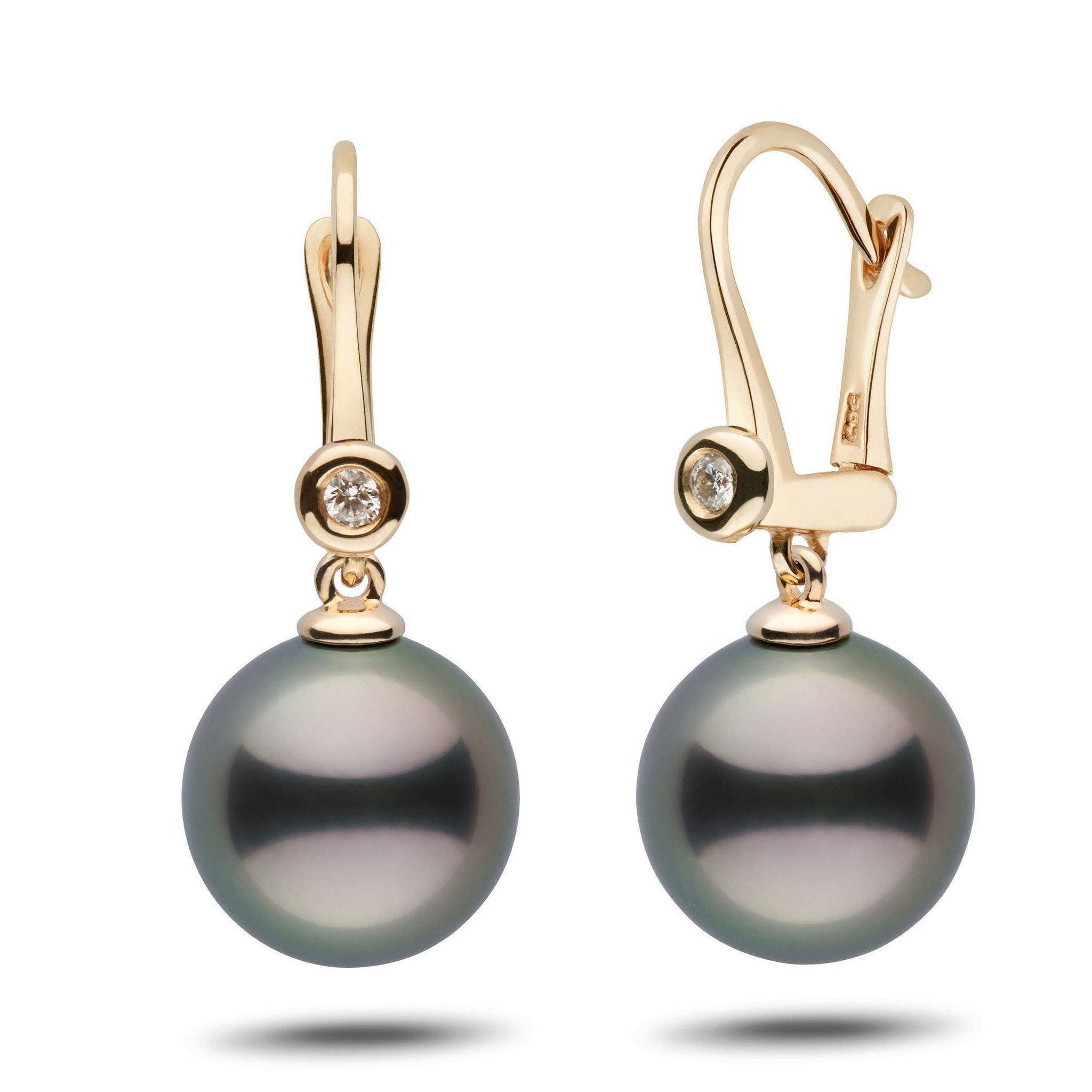 Romantic Collection Tahitian 12.0-13.0 mm Pearl & Diamond Dangle Earrings