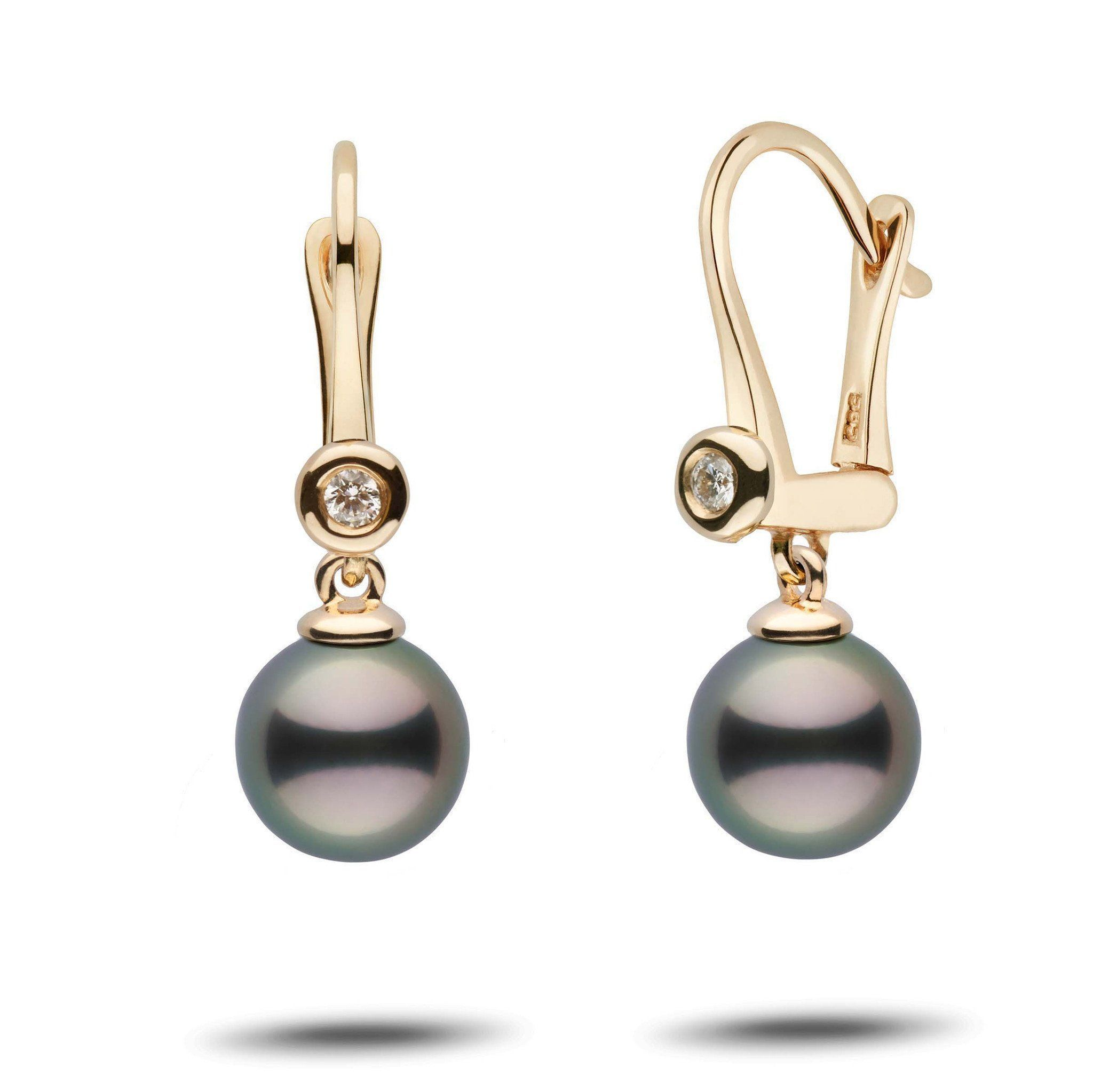 Romantic Collection Tahitian 8.0-9.0 mm Pearl & Diamond Dangle Earrings