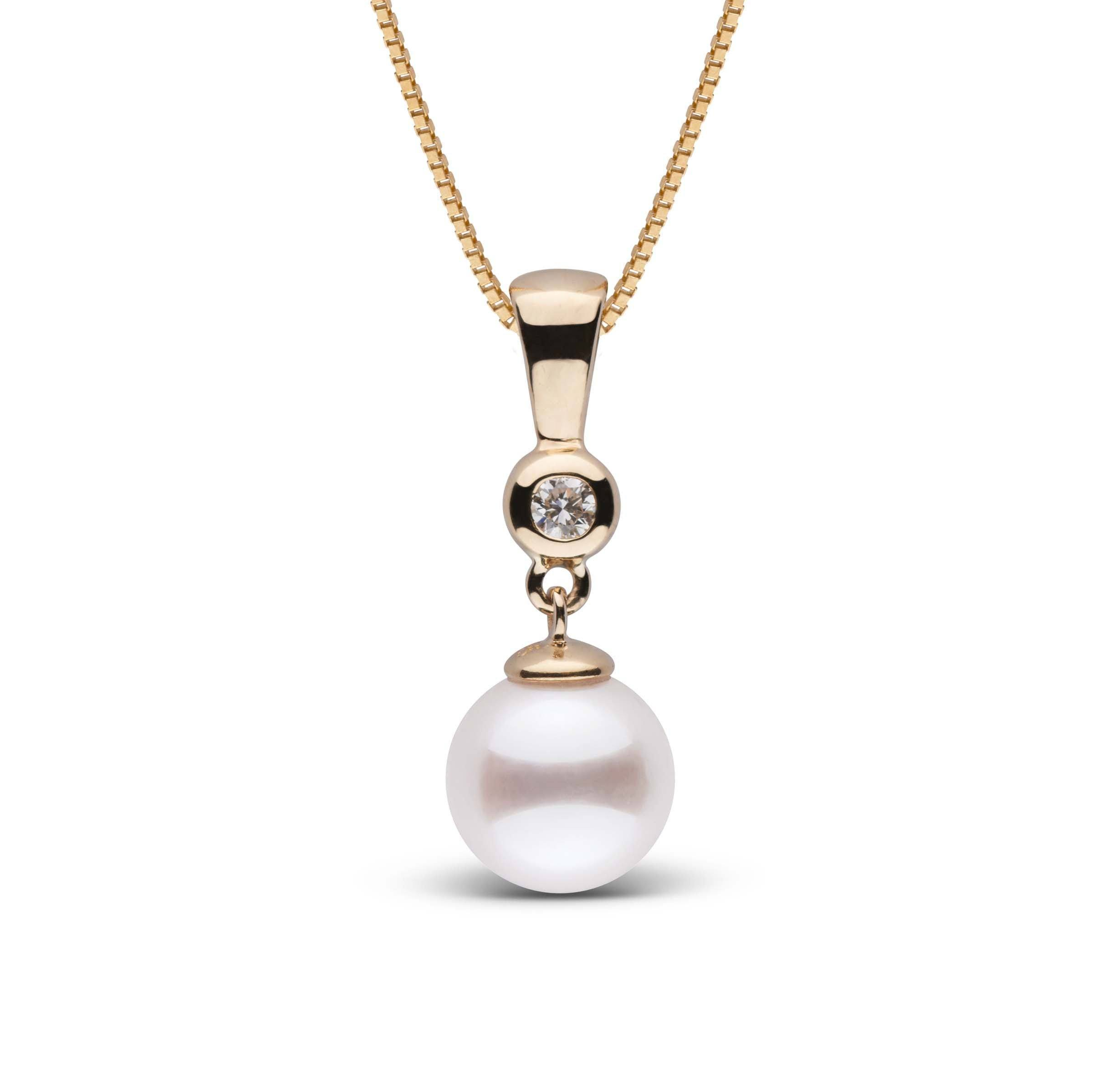 Romantic Collection White 8.5-9.0 mm AAA Akoya Pearl and Diamond Pendant