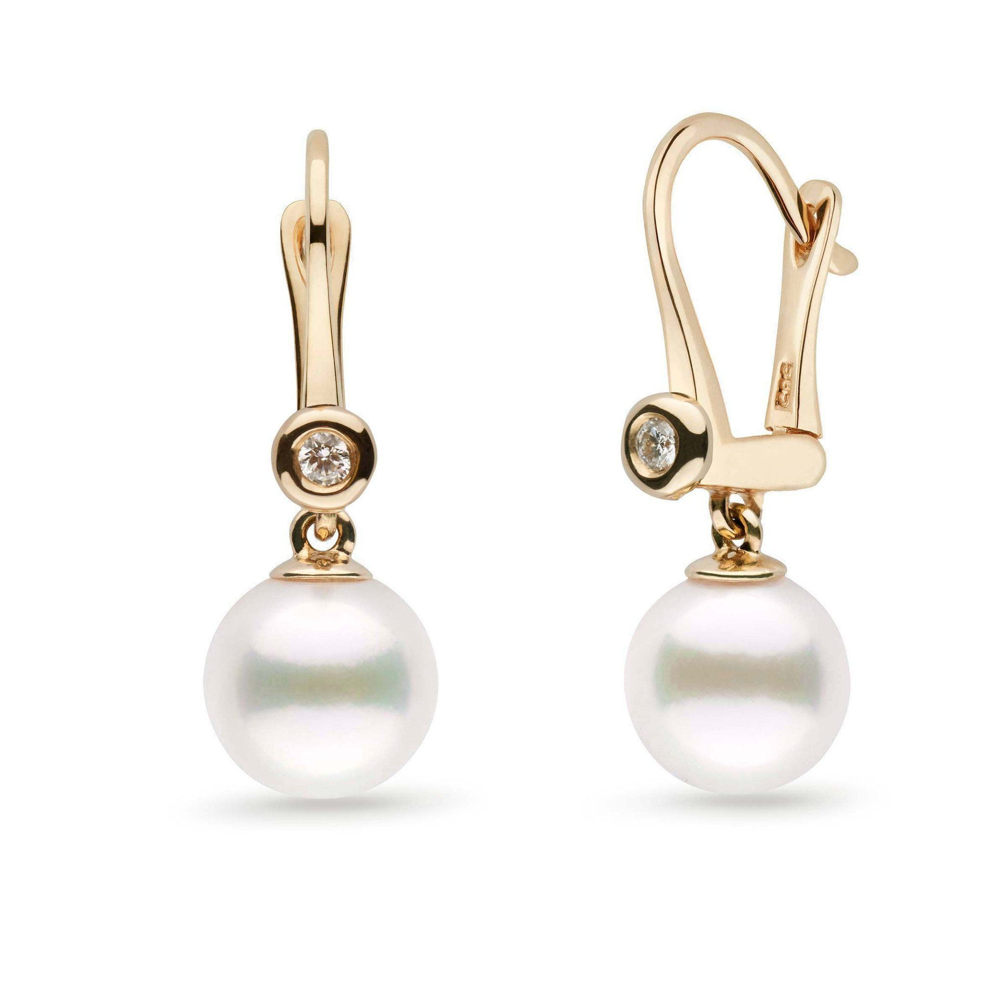 Romantic Collection White Freshadama Freshwater 8.5-9.0 mm Pearl & Diamond Dangle Earrings