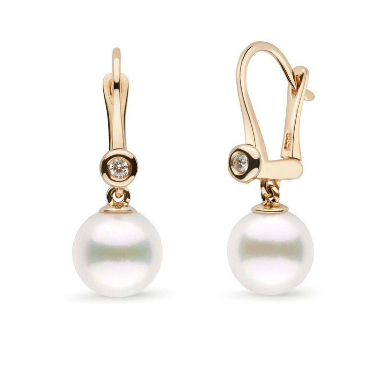 Romantic Collection White Freshadama Freshwater 9.0-10.0 mm Pearl & Diamond Dangle Earrings