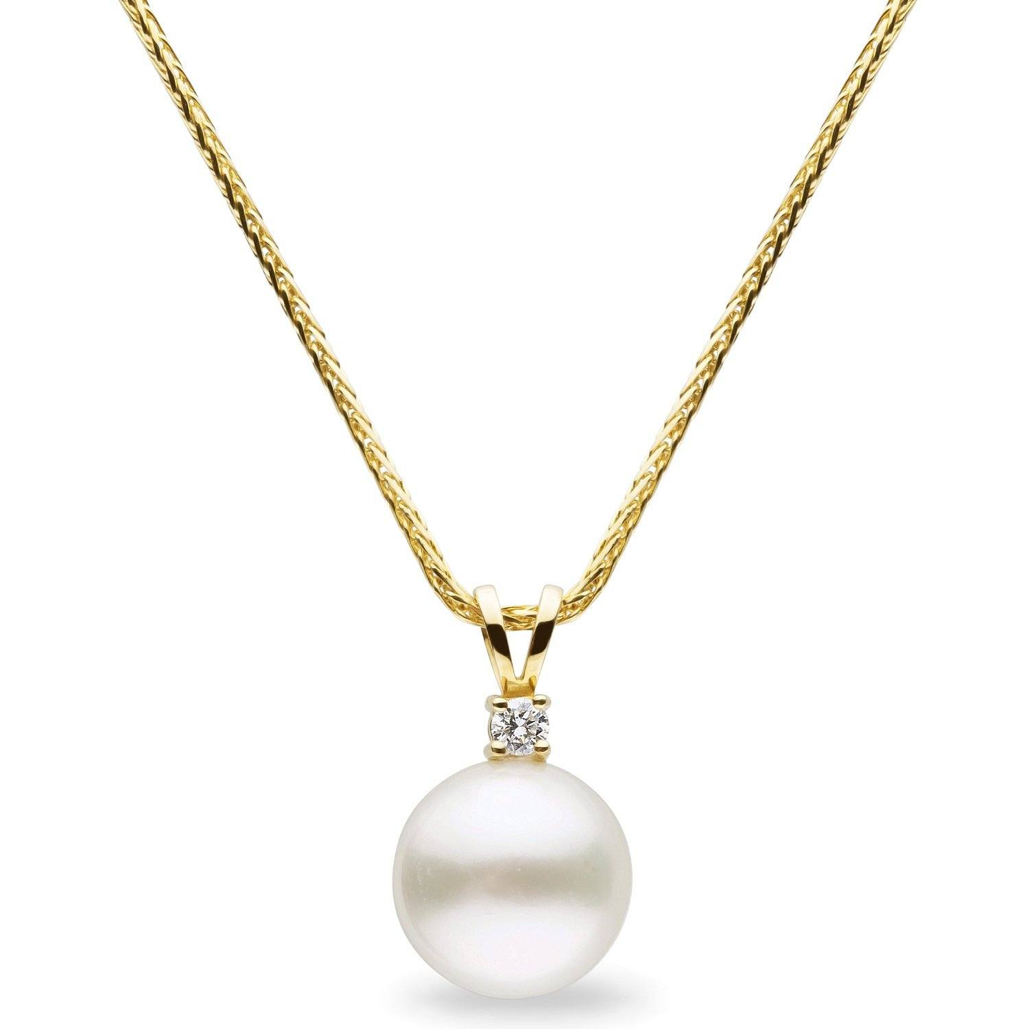 12.0-13.0 mm White South Sea Pearl Pendant with Diamond in Yellow Gold