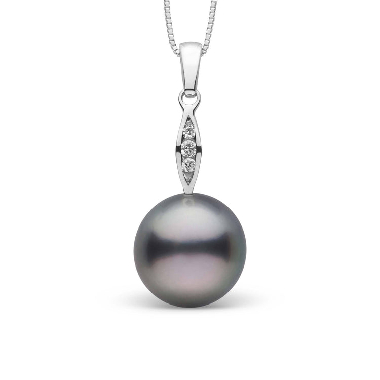 Shimmer Collection Tahitian 10.0-11.0 mm Pearl and Diamond Pendant in Sterling Silver