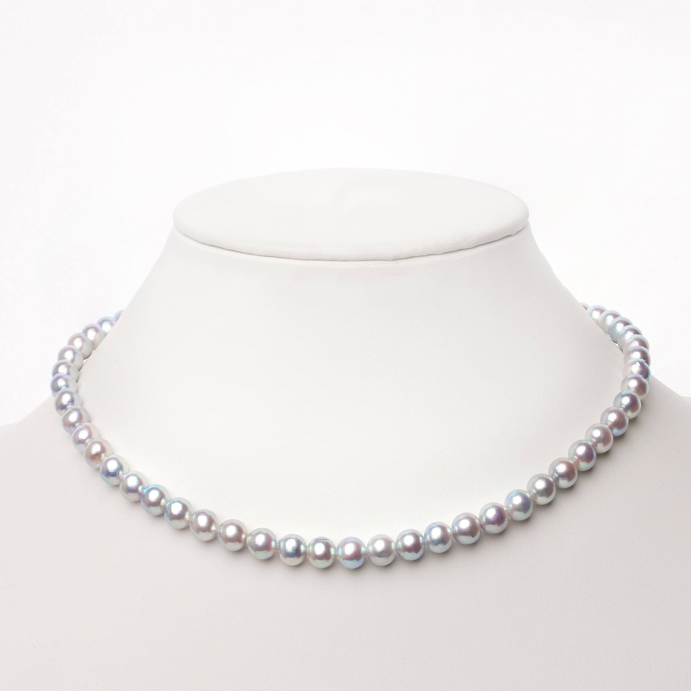 6.5-7.0 mm Semi-Round Silver Blue Akoya Necklace