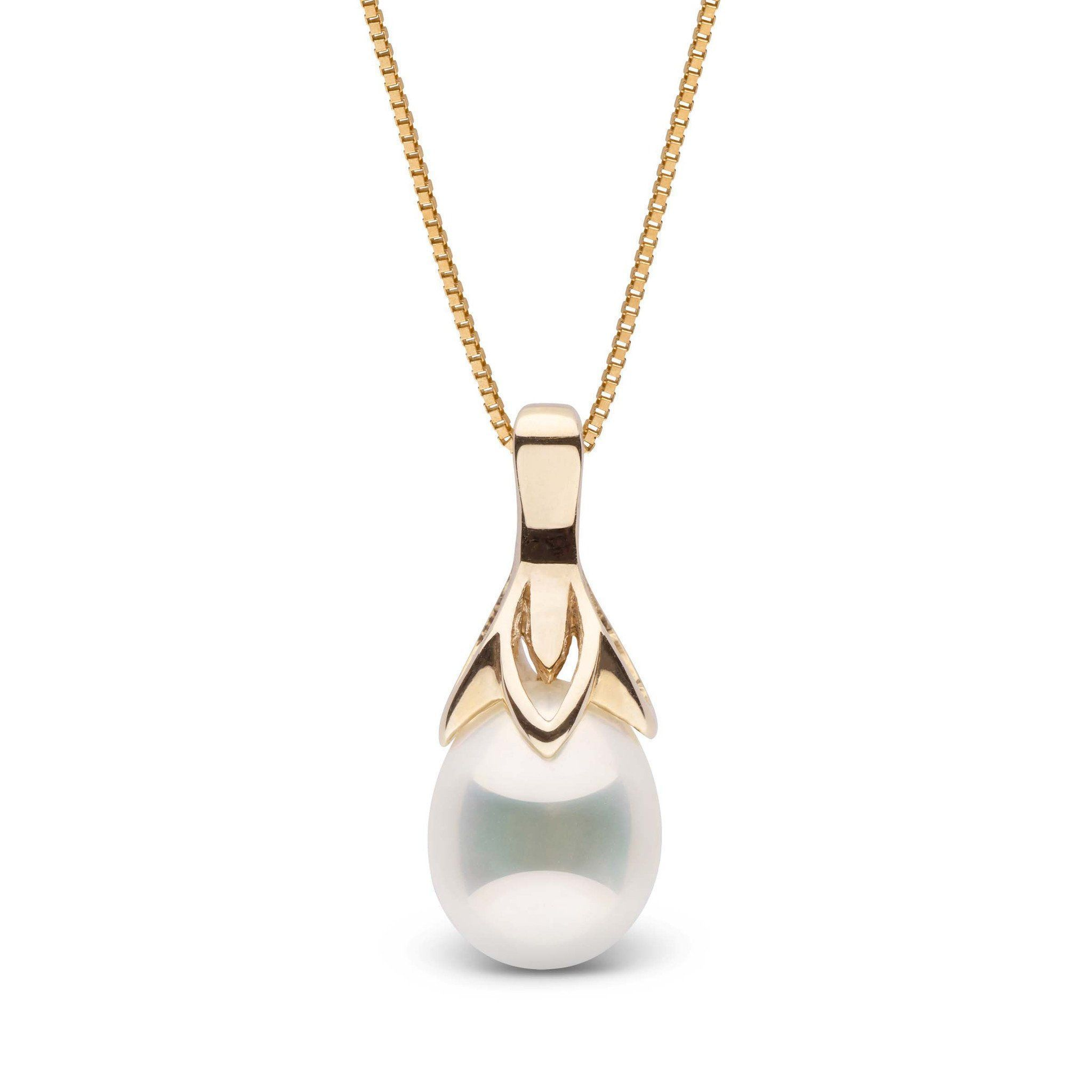 Snowdrop Collection White Metallic Freshwater Drop Pearl Pendant