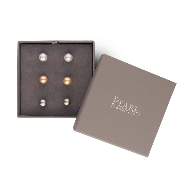 Essential Colors 3-Piece Deluxe Set of AAA South Sea Pearl Earrings