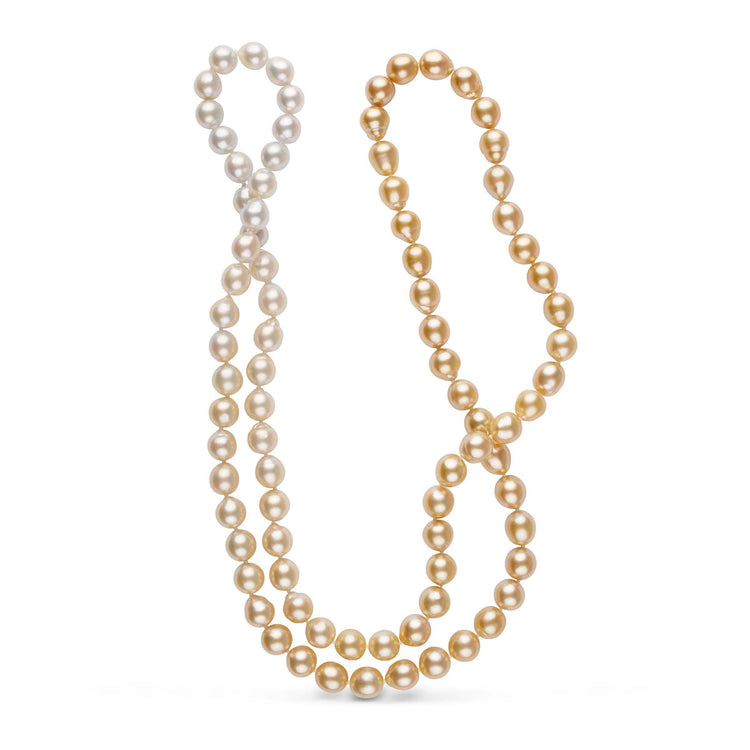 Special 36.5 Inch 9.0-9.9 mm Ombre Golden South Sea Pearl Strand