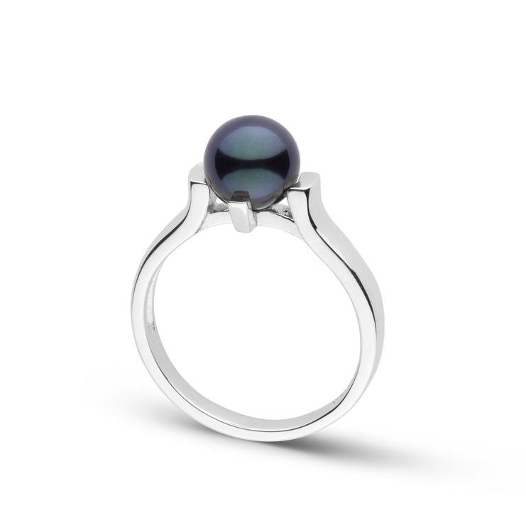 Stark Collection Black Akoya Pearl Ring in Sterling Silver