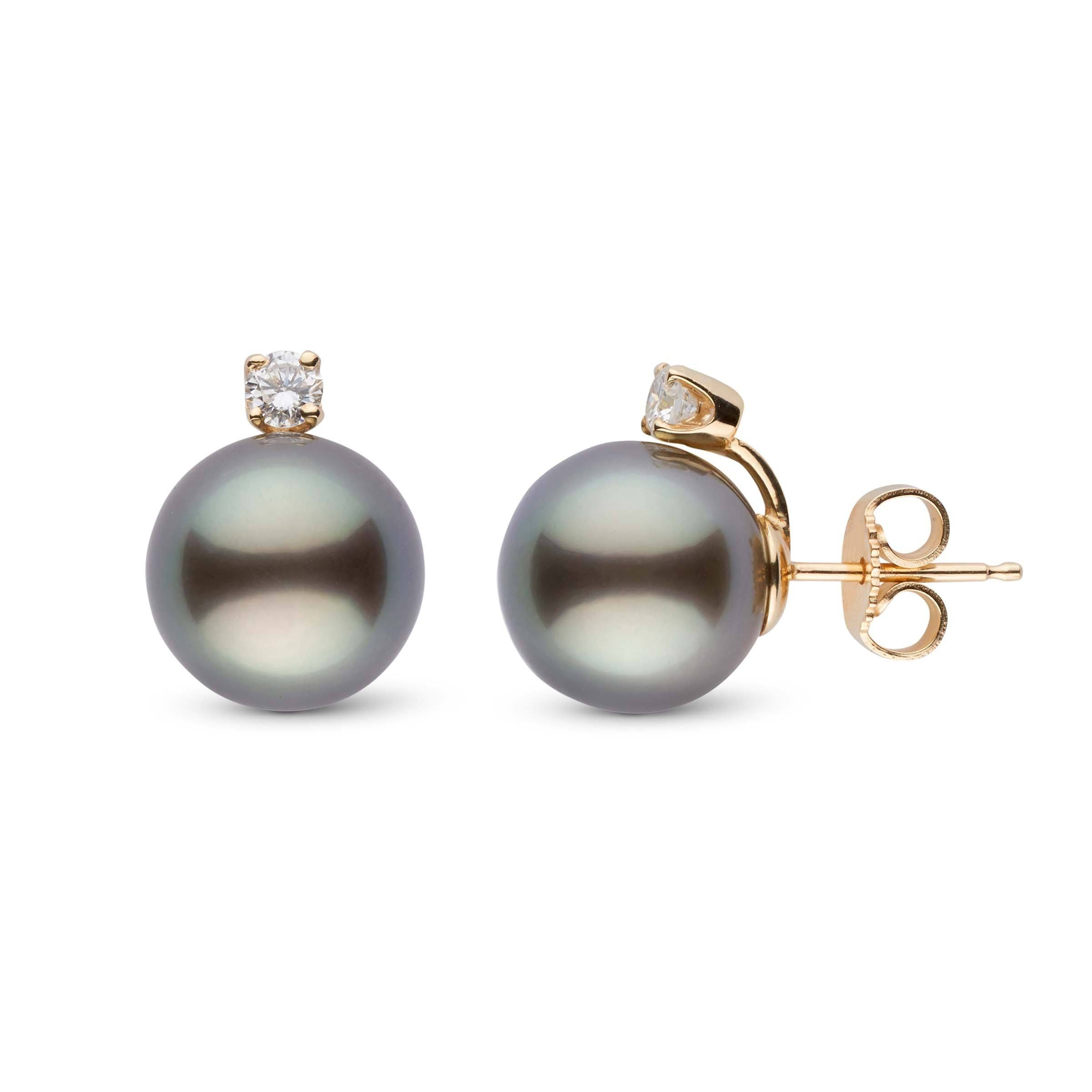 Starlight Collection 9.0-10.0 mm Tahitian Pearl & Diamond Stud Earrings