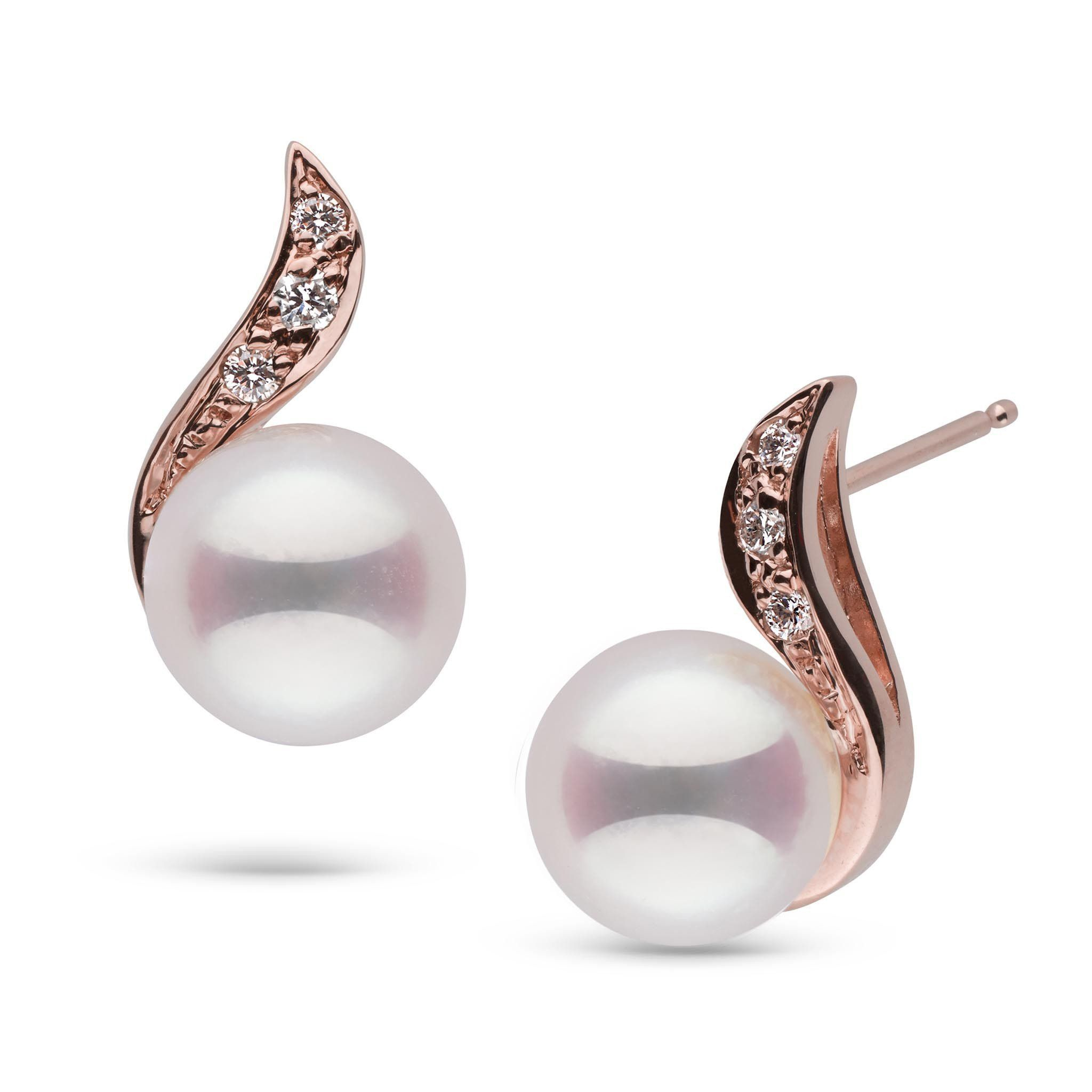 Symphony Collection Akoya Pearl and Diamond Earrings
