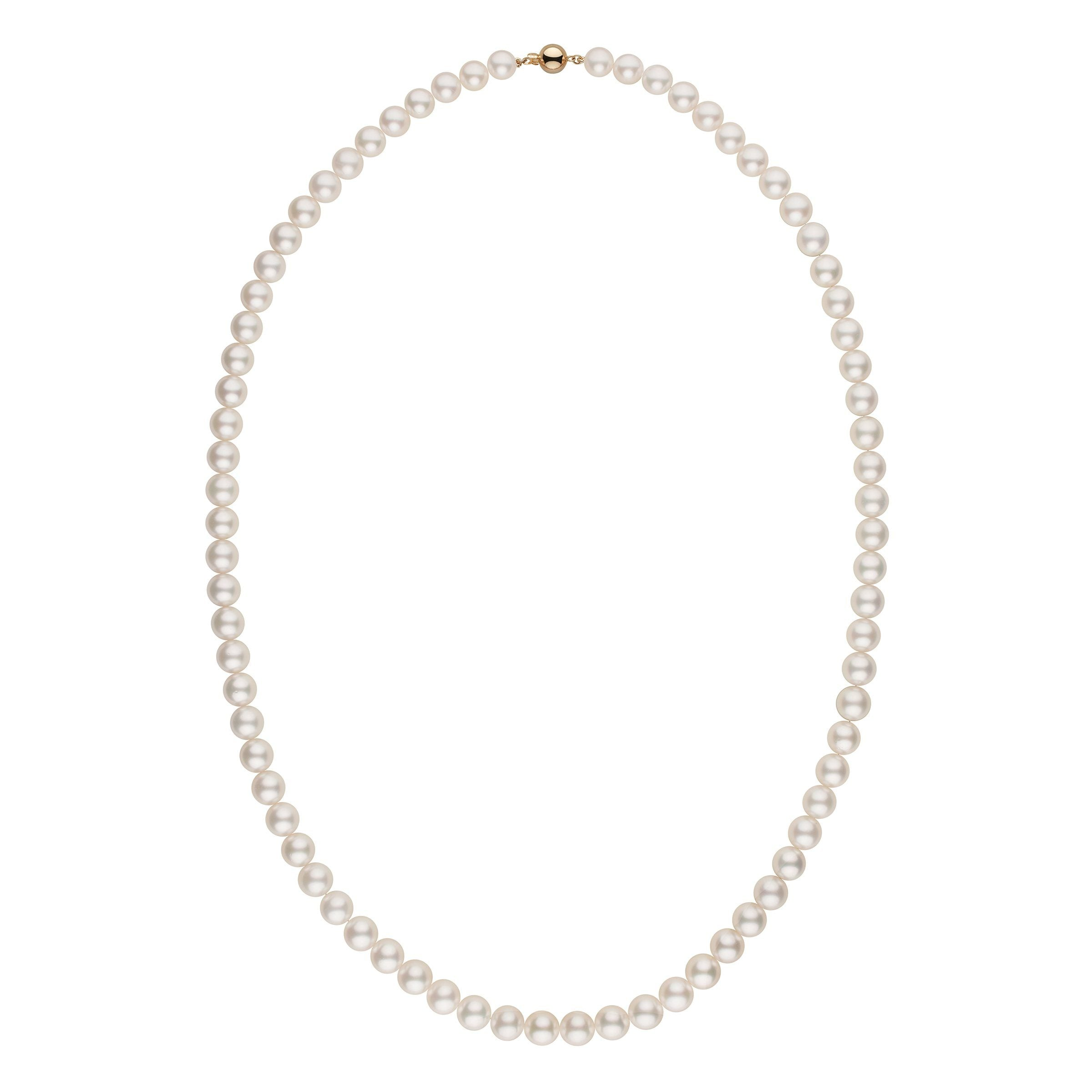 10.0-11.5 mm AA+/AAA White South Sea Round Pearl Necklace - 35 Inches