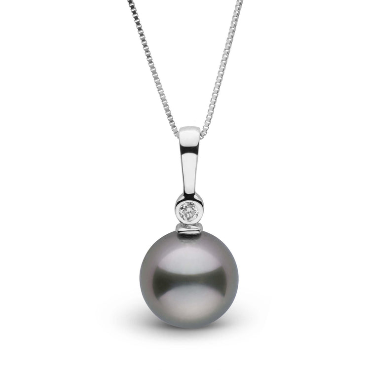 Tahitian 9.0-10.0 mm Pearl and Diamond Aspire Pendant in Sterling Silver