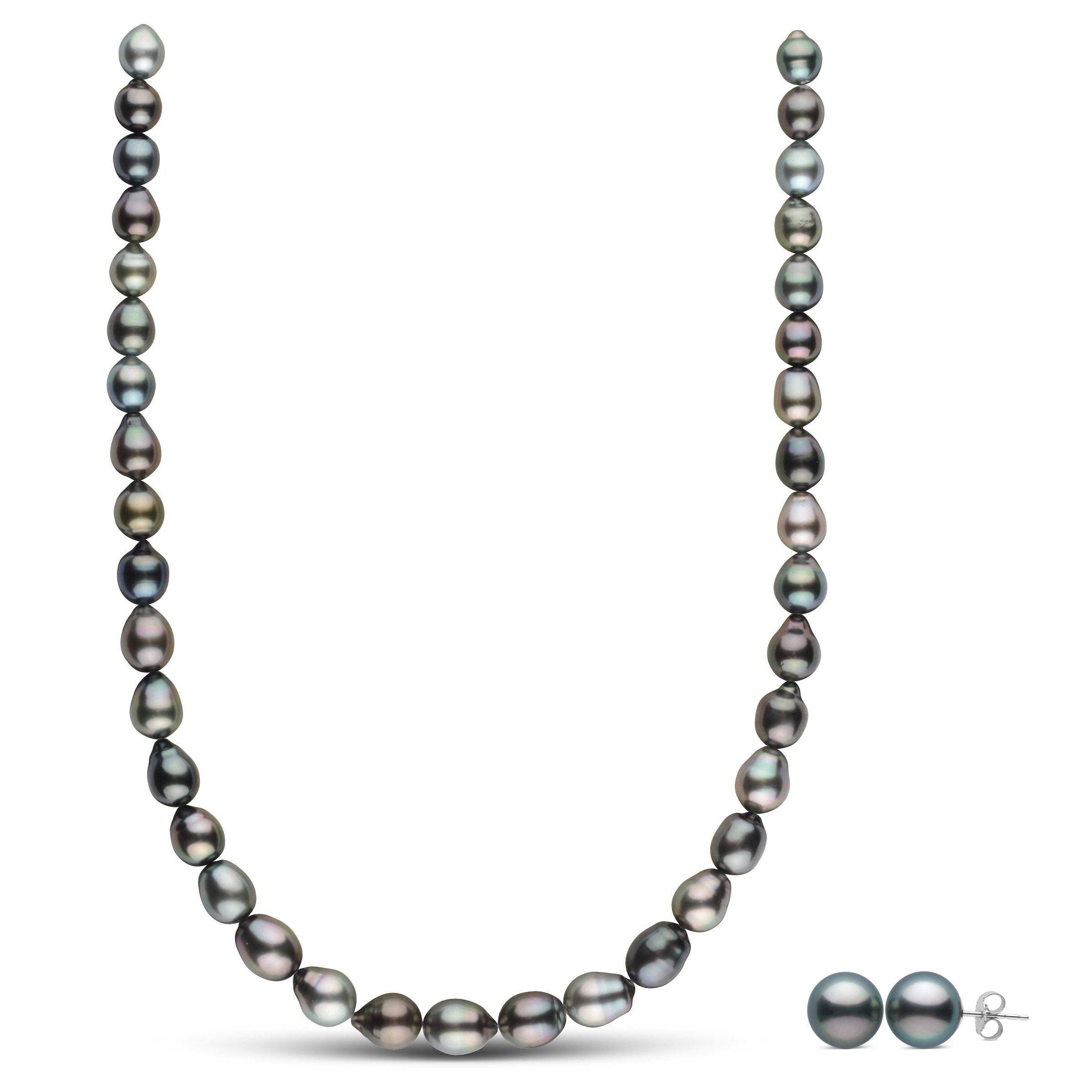 Tahitian Drop Pearl Necklace and Earring Set