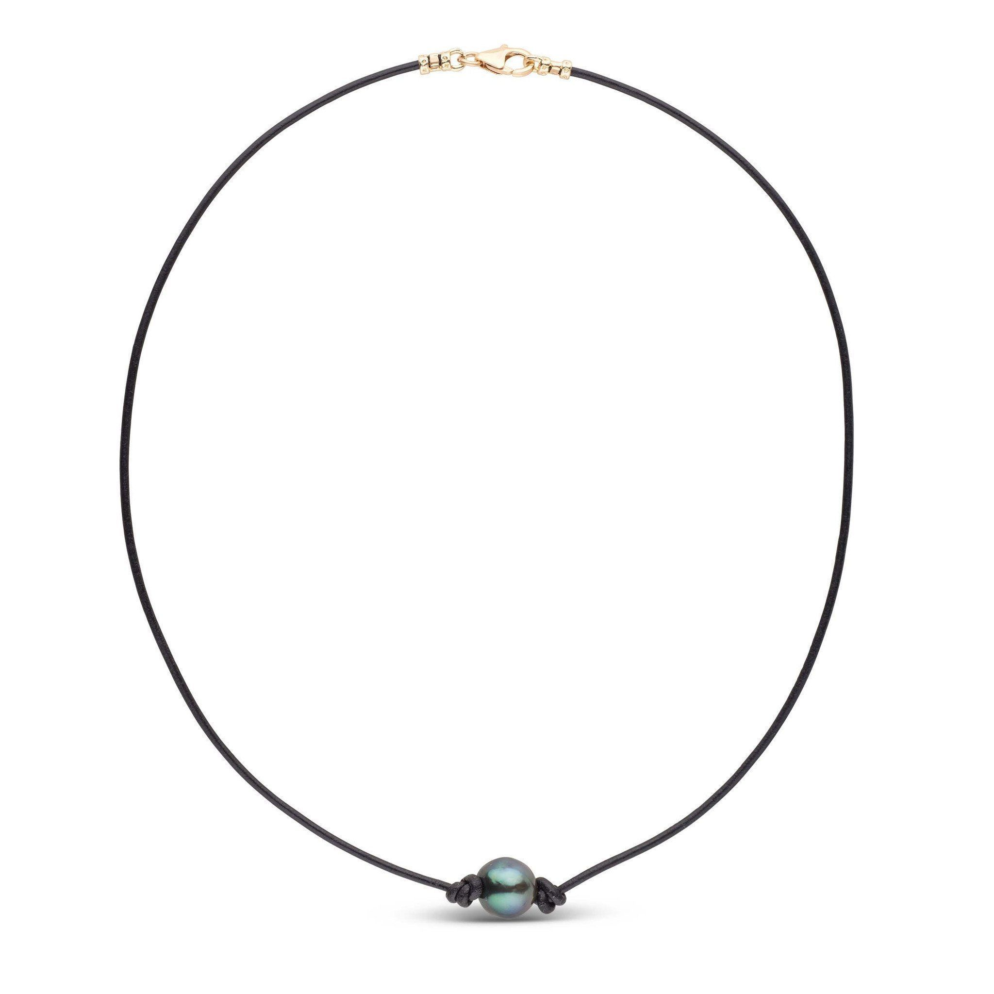 Tahitian Baroque Pearl Knotted Leather Necklace