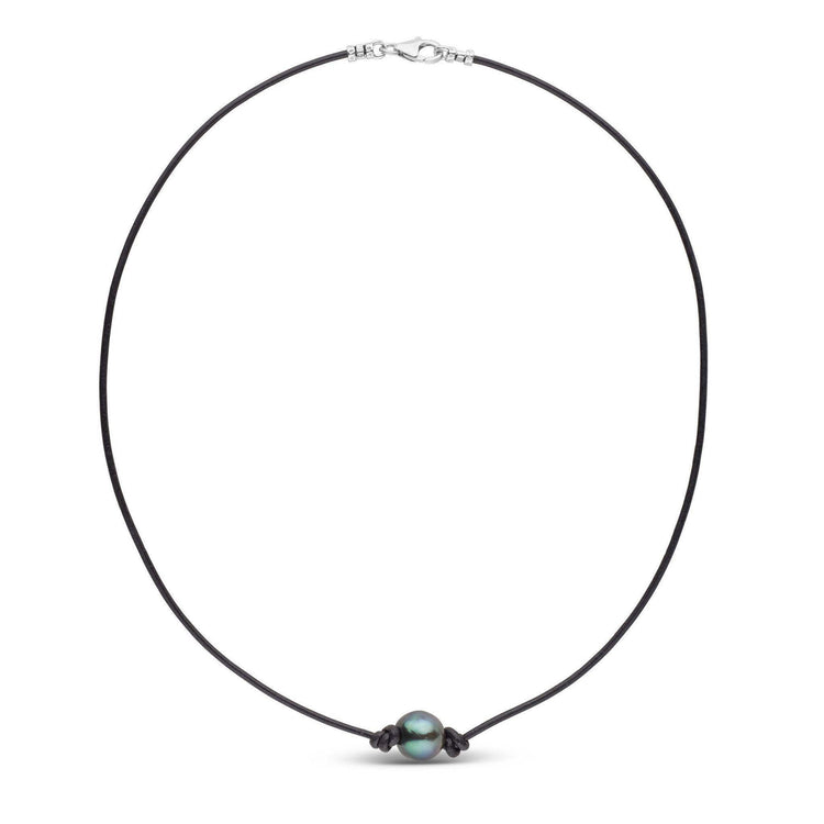 Tahitian Pearl Knotted Leather Necklace
