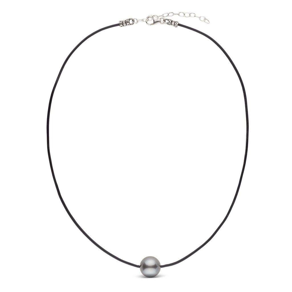 Tahitian Round Pearl Leather Necklace in Sterling Silver