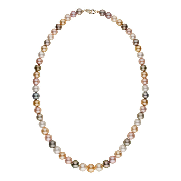 13.0-16.3 mm AAA Multicolored Round Pearl Necklace