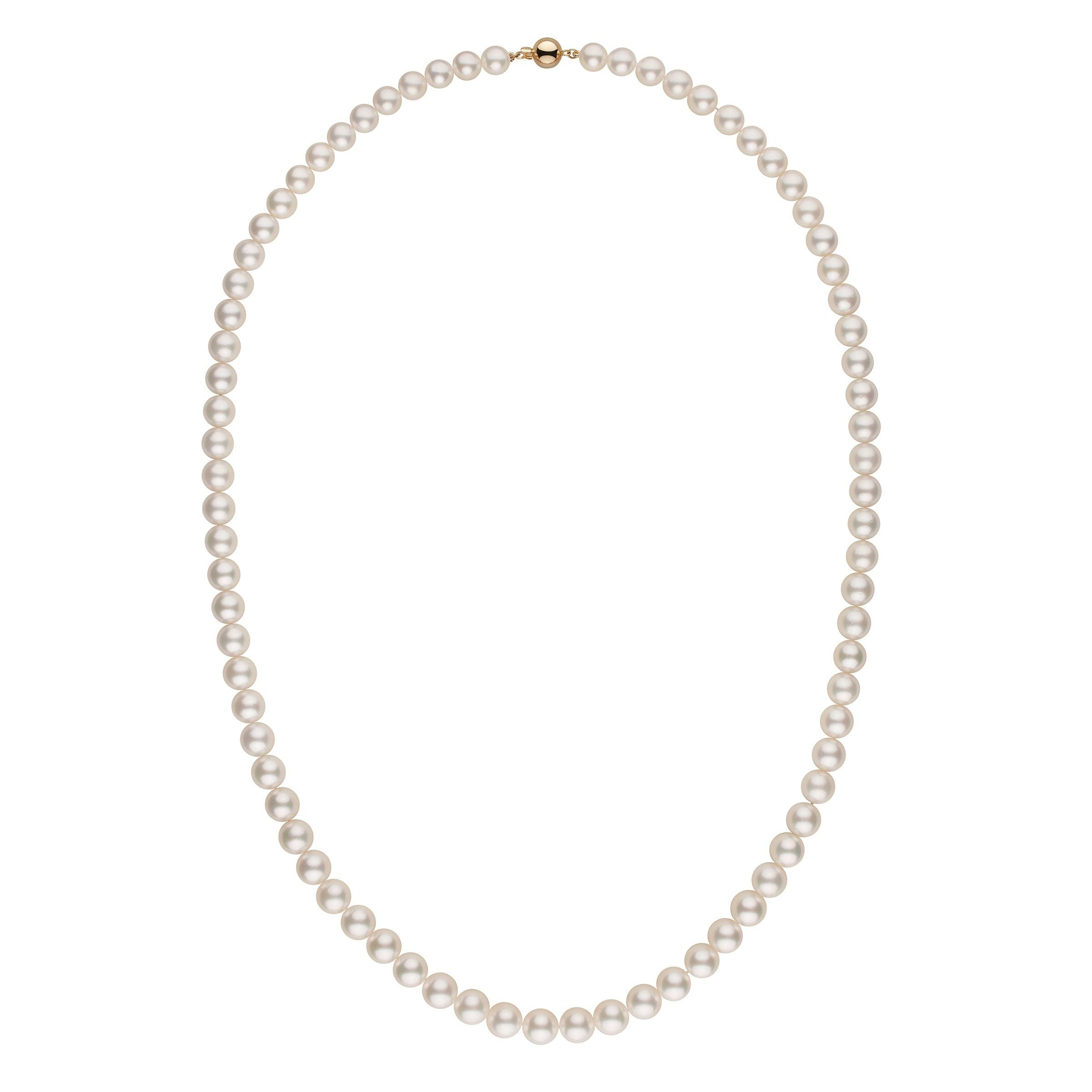 10.0-11.9 mm AA+/AAA White South Sea Round Pearl Necklace - 36 Inches