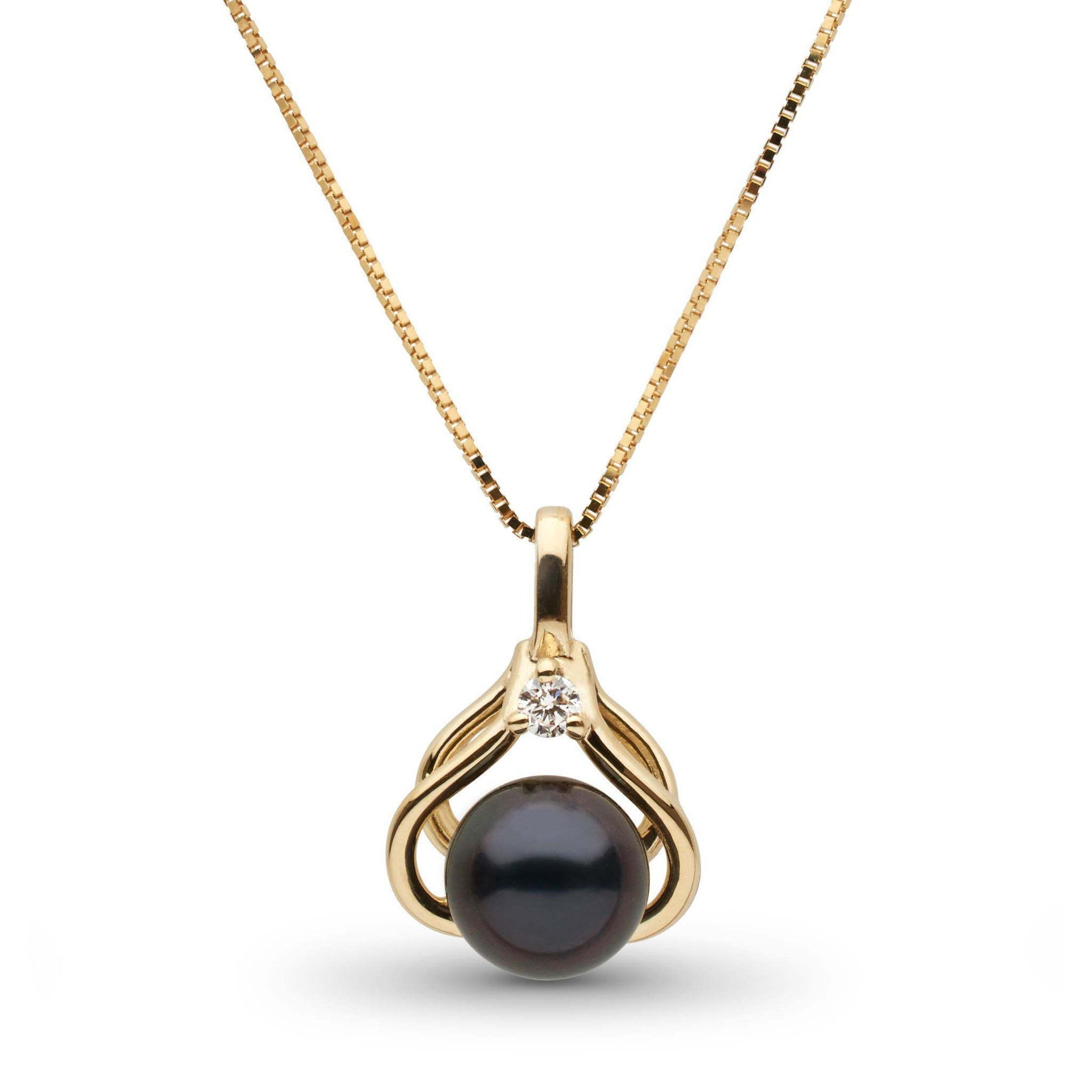Tiara Collection Black Akoya Pearl and Diamond Pendant